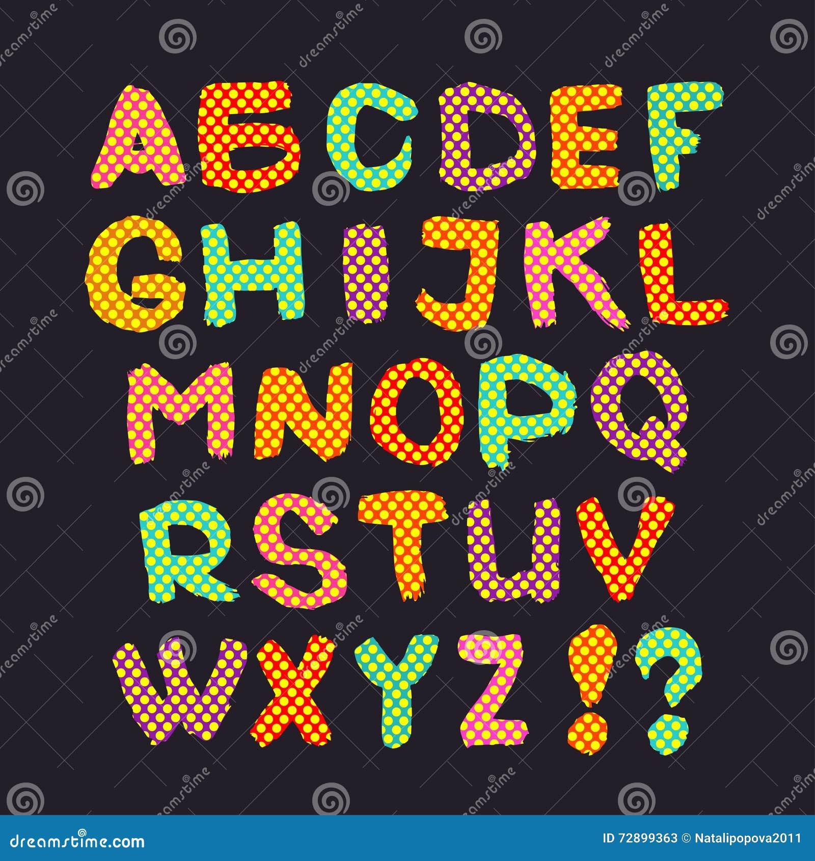 Buntes Englisches Alphabet Auf Einem Grauen Hintergrund Vektor Abbildung - Bild: 72899363