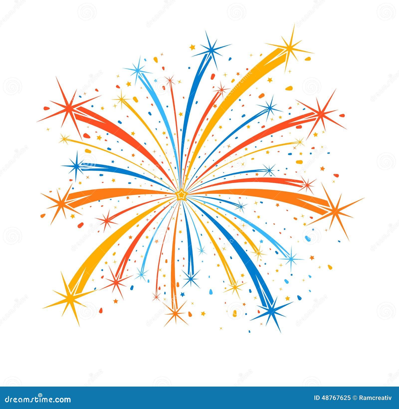 Buntes Feuerwerk Auf Weißem Hintergrund Vektor Abbildung
