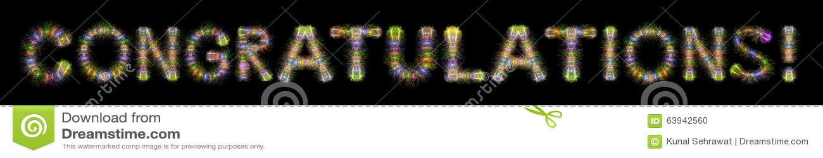 Buntes funkelndes Feuerwerke des Glückwunschtextes horizontales bla