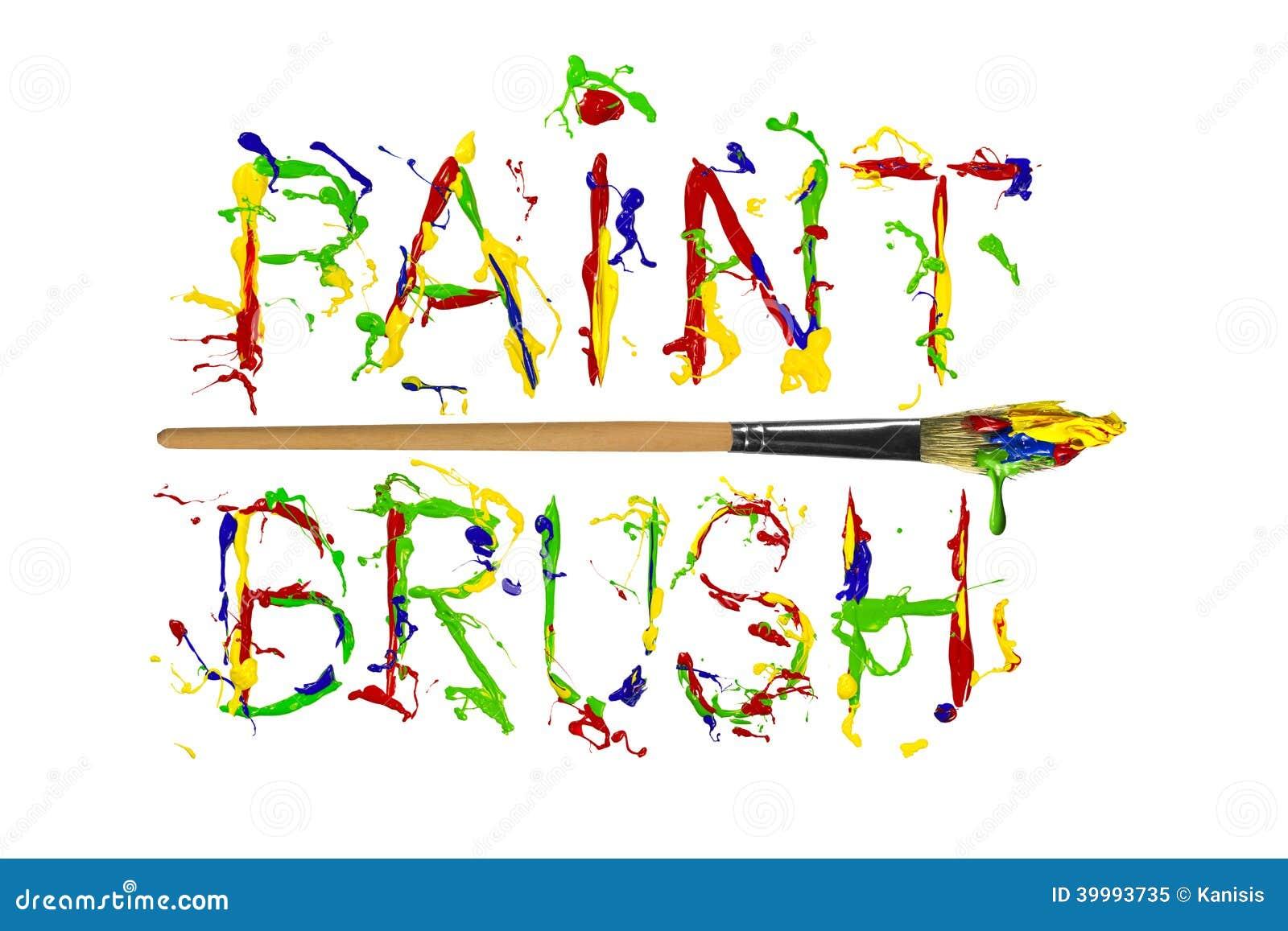 buntes gemalter wortmalerpinsel der farbe spritzen stock abbildung