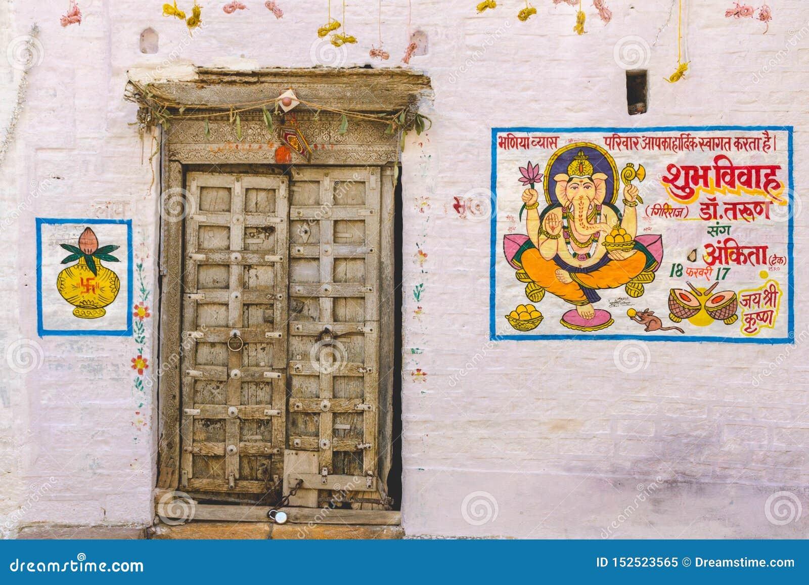 Buntes Haus zu der Zeit Rajasthan-Hochzeit