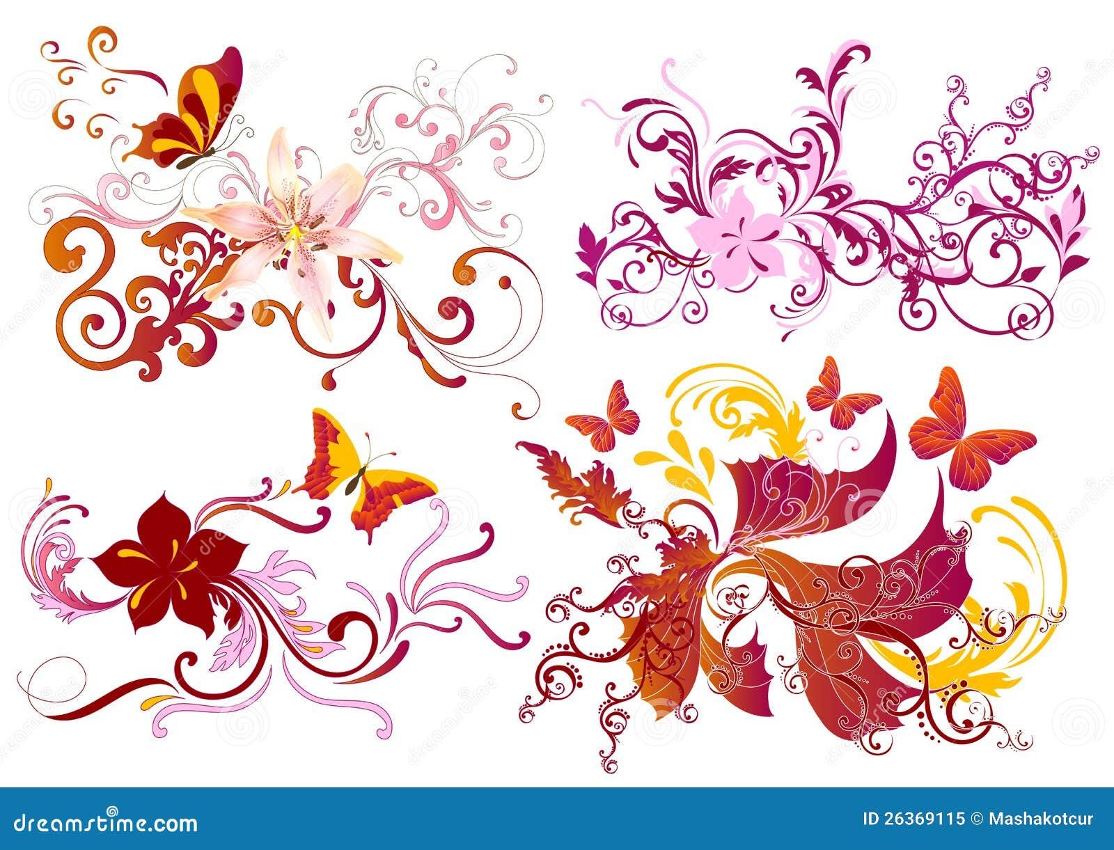 Buntes kalligraphisches Blumenelementset