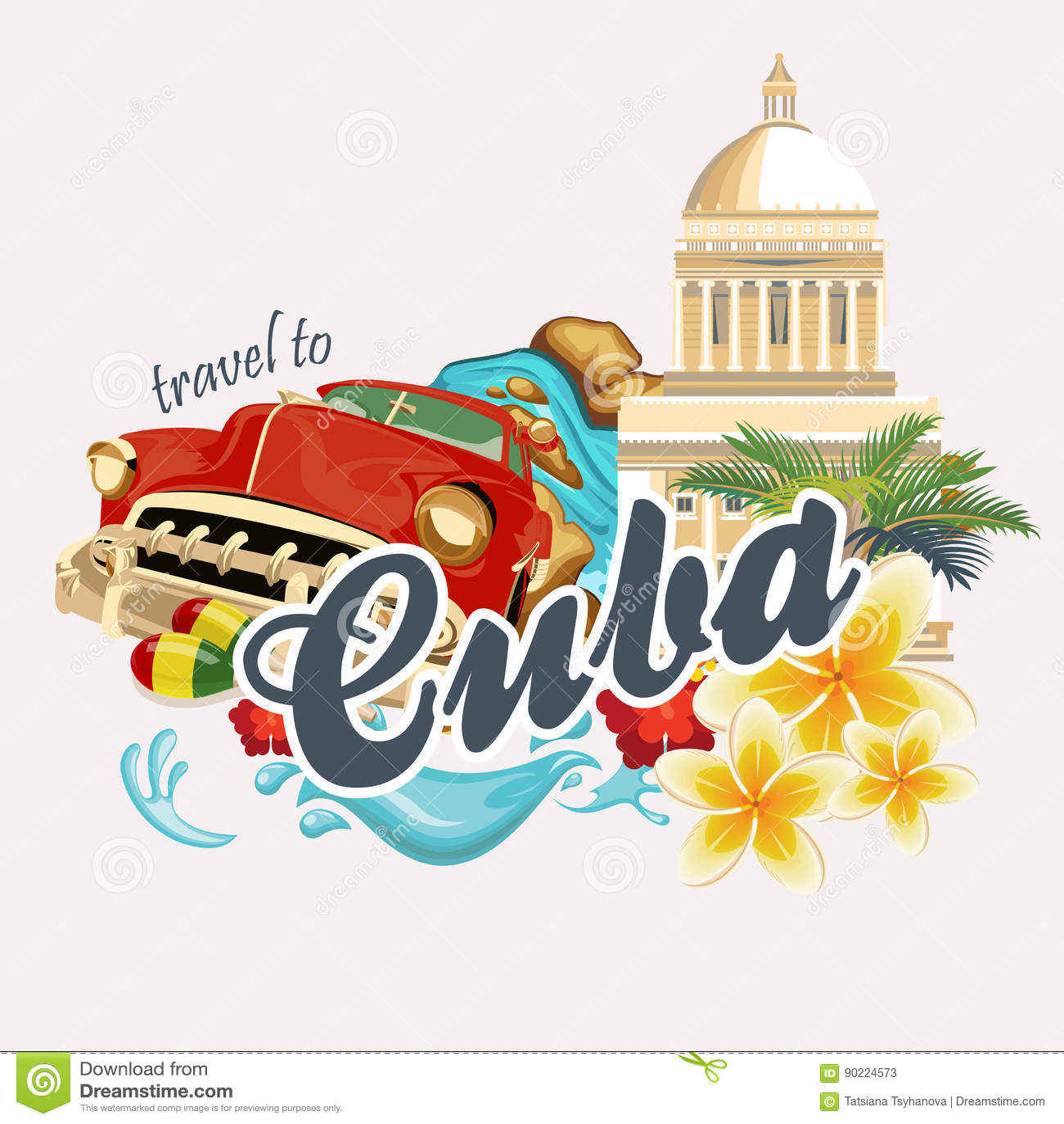 Buntes Kartenkonzept Kuba-Reise Reiseplakat mit Retro- Auto Vektorillustration mit kubanischer Kultur