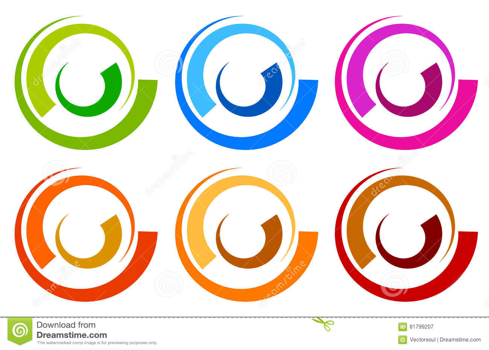 Buntes Kreislogo, Ikonenschablonen konzentrisches segmentiertes circl