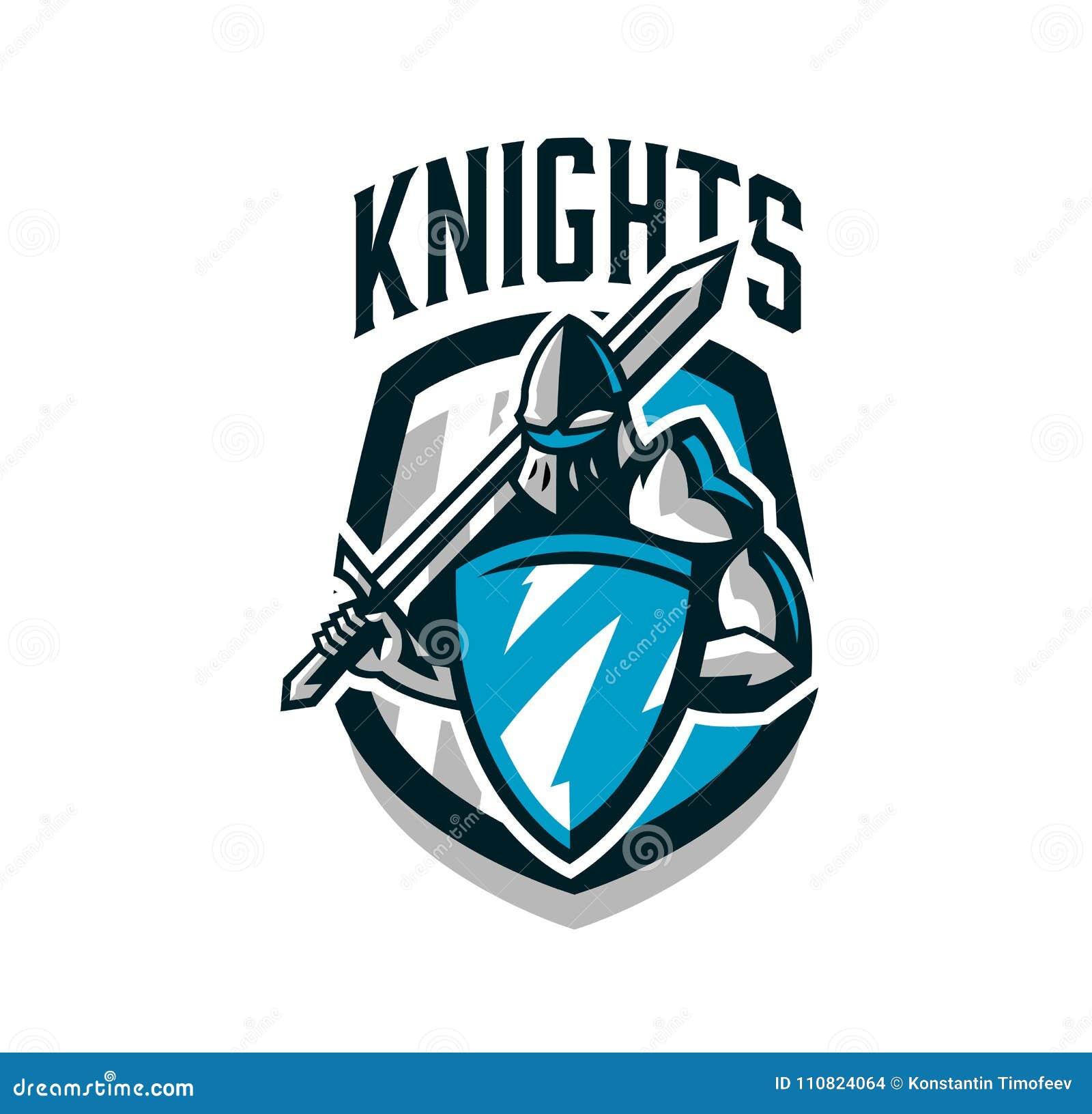 Buntes Logo Aufkleber Emblem Des Ritters In Der Eisenrüstung