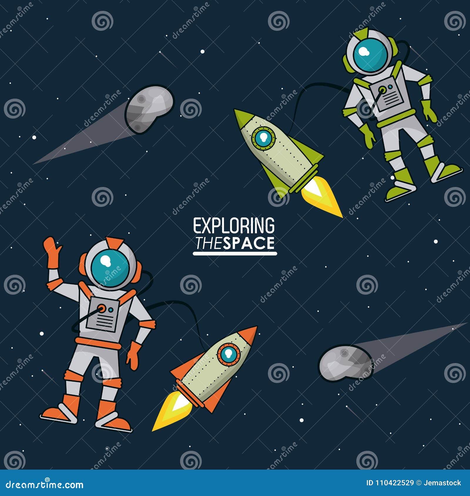 Buntes Plakat, das den Raum mit Raumschiffastronauten und -asteroiden erforscht