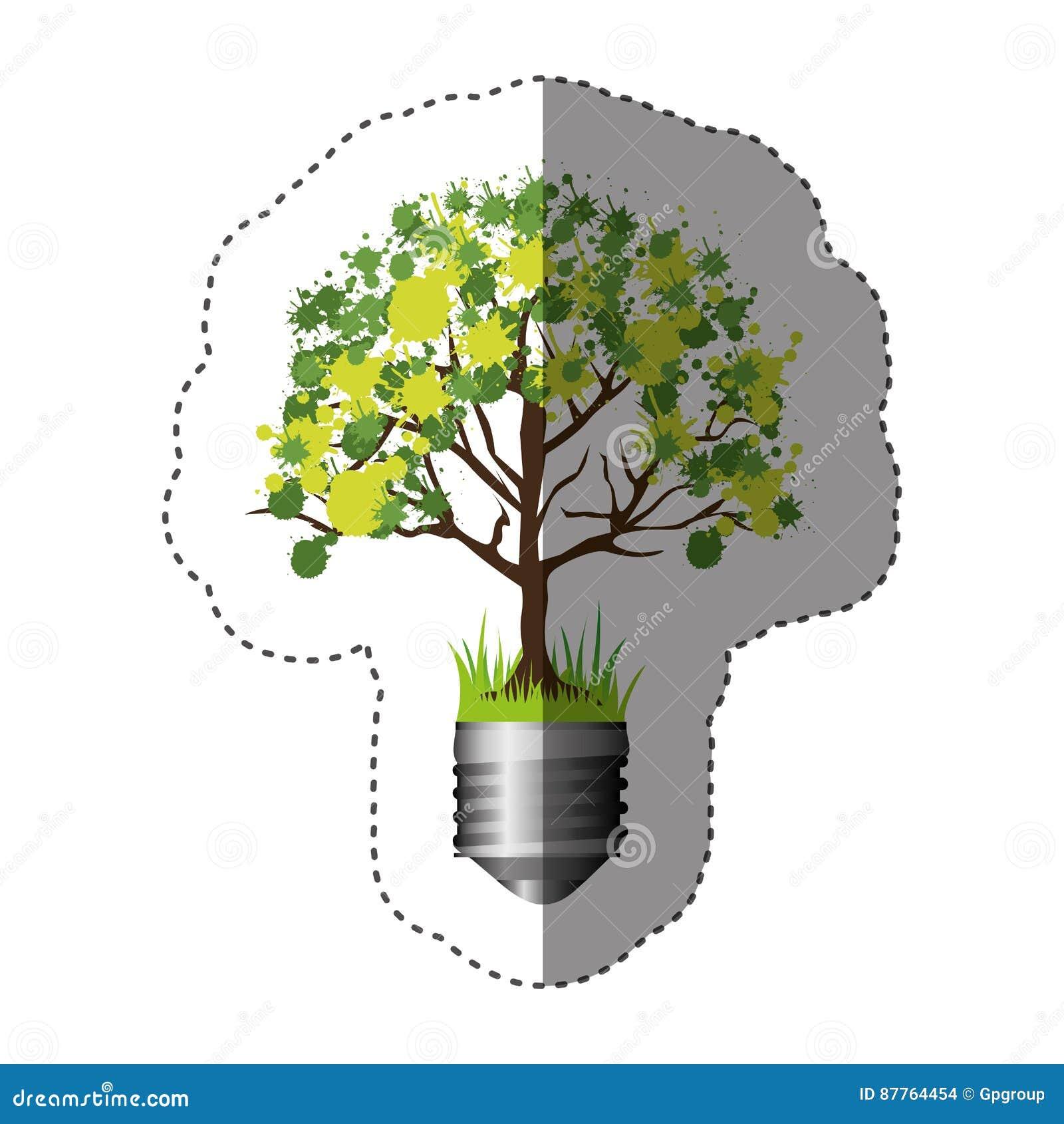 Buntes Schattenbild des Aufklebers der Glühlampebasis mit belaubtem Baum