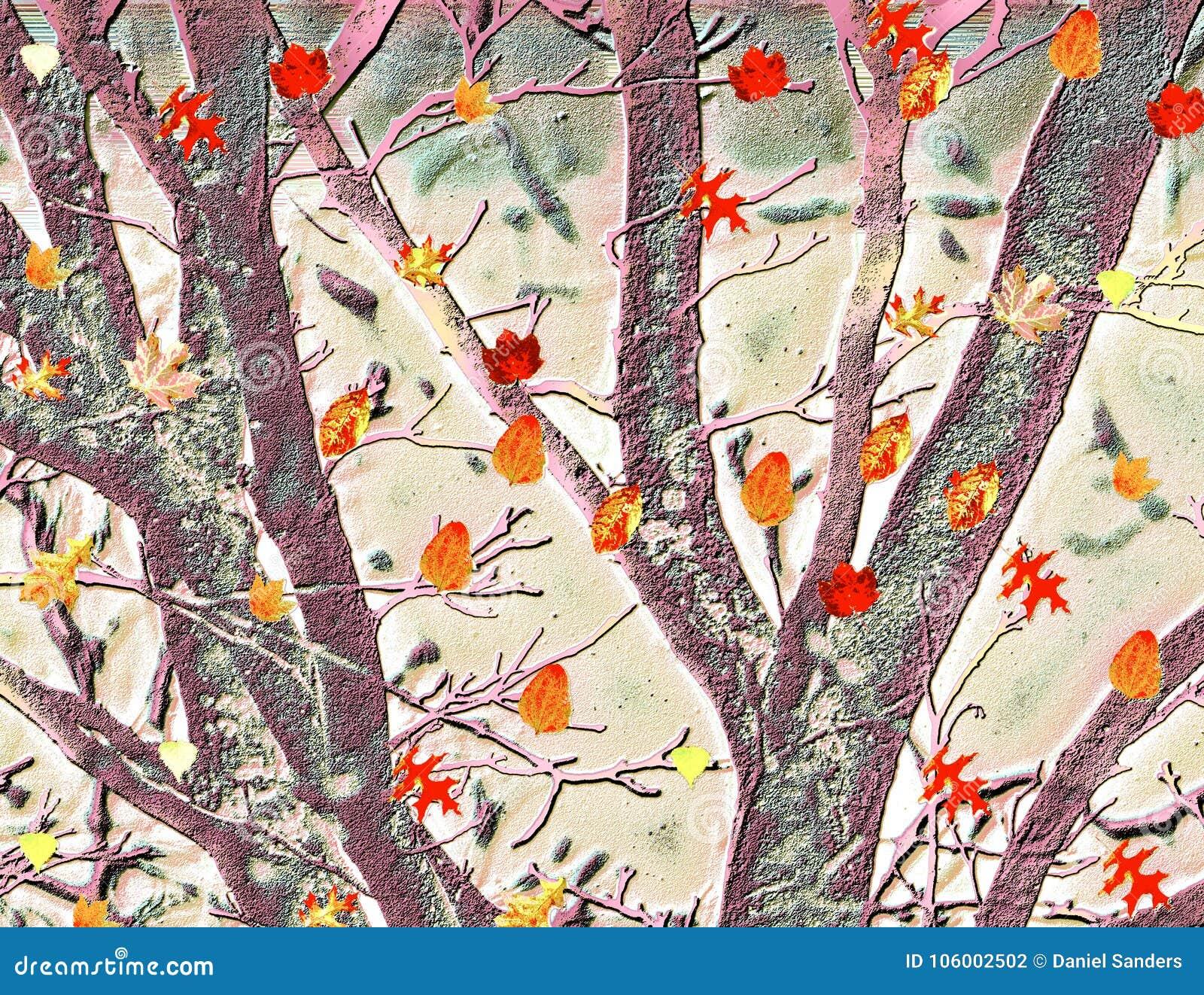 Buntes Tanzen verlässt gegen strukturierten Hintergrund von Bäumen