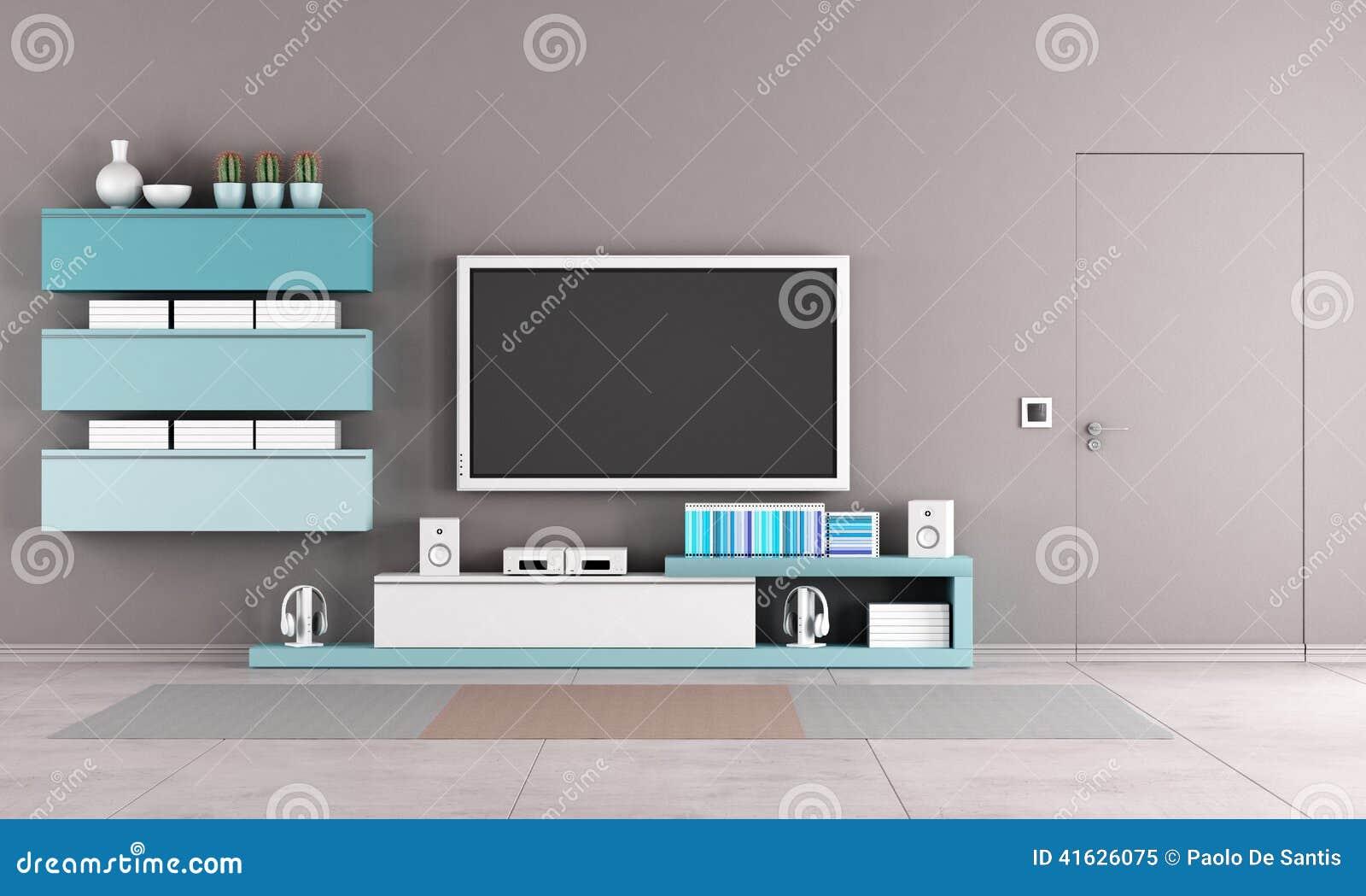 Buntes Wohnzimmer Mit Fernsehstand Stock Abbildung - Illustration ...
