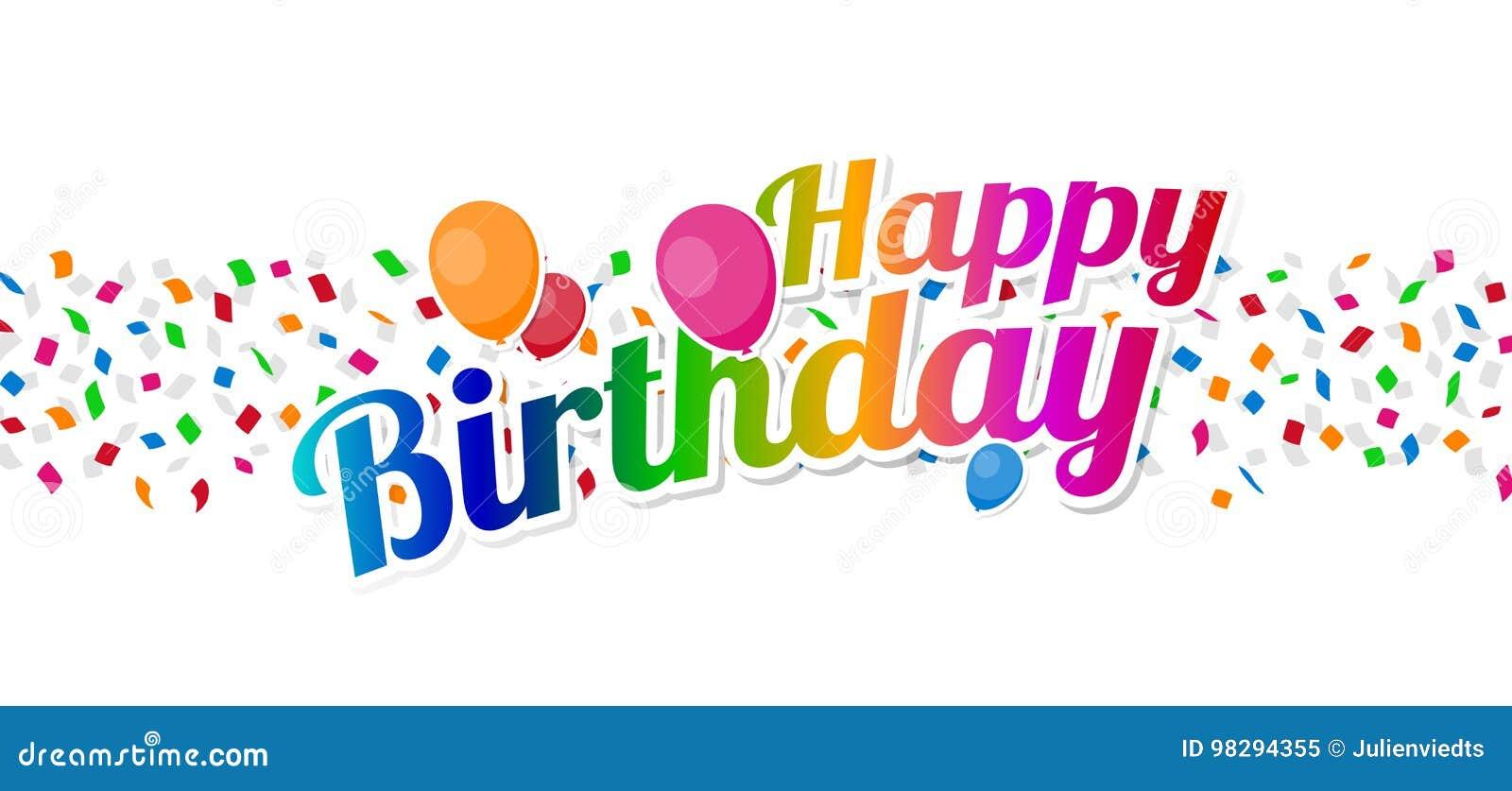 Buntes Zeichen Alles Gute Zum Geburtstag Mit Ballonen Uber Konfettis