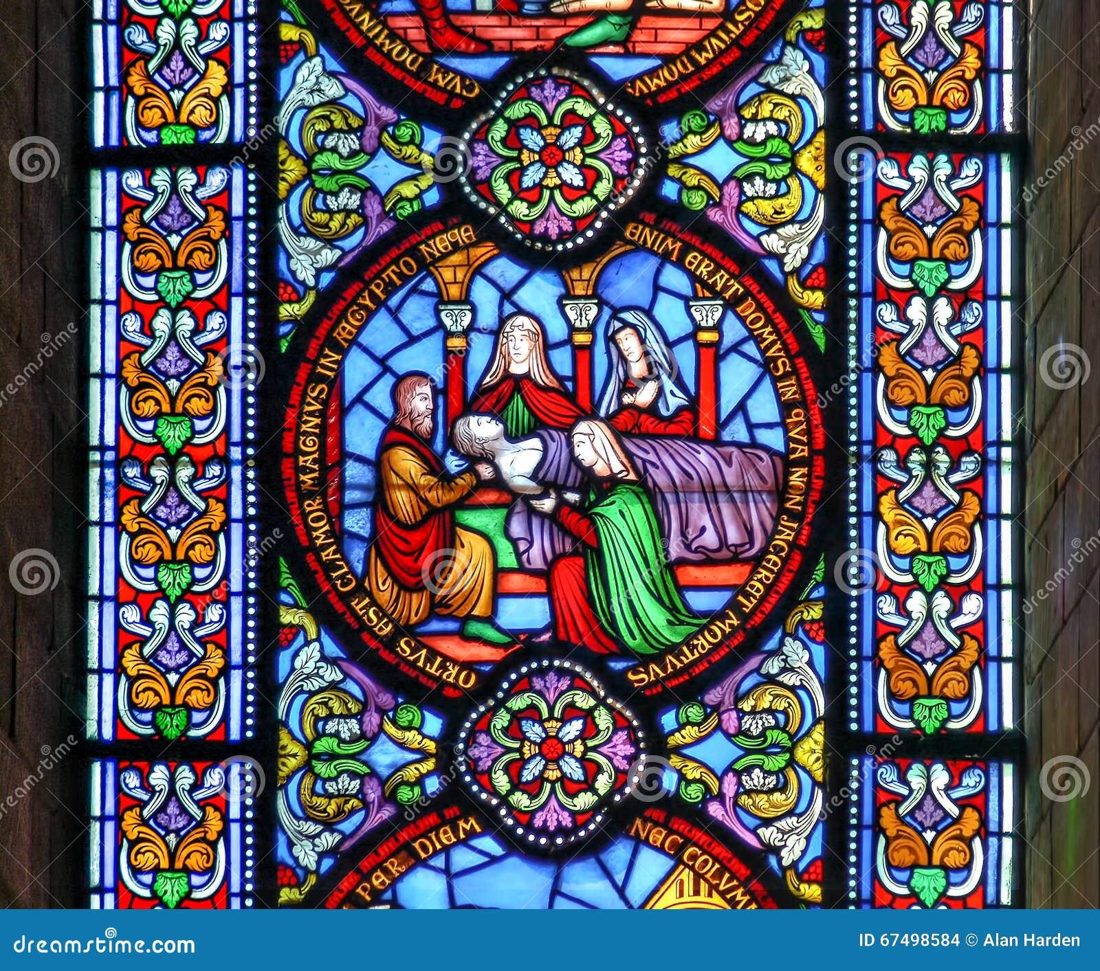 Buntglasfenster, das den Tod des fiirst getragen zeigt