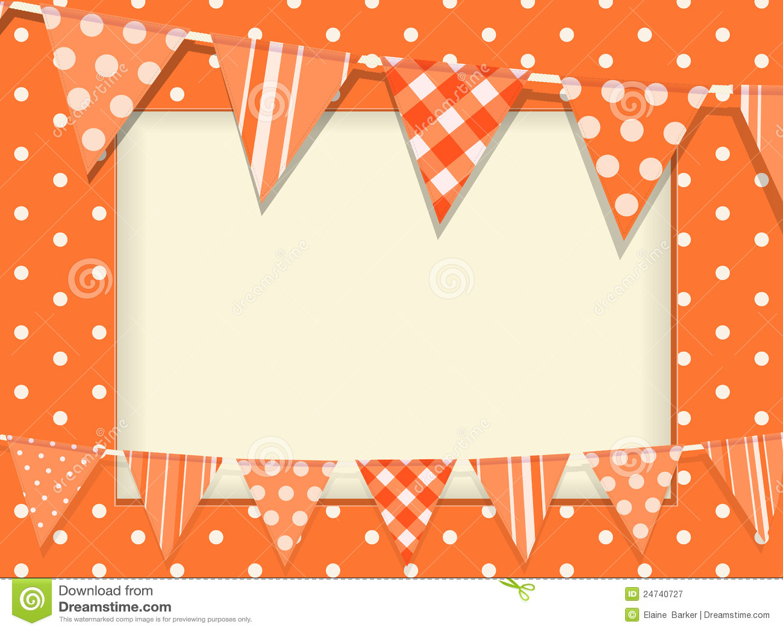 Bunting And Orange Polka Dot Frame Stock Vector - Illustration of ...
