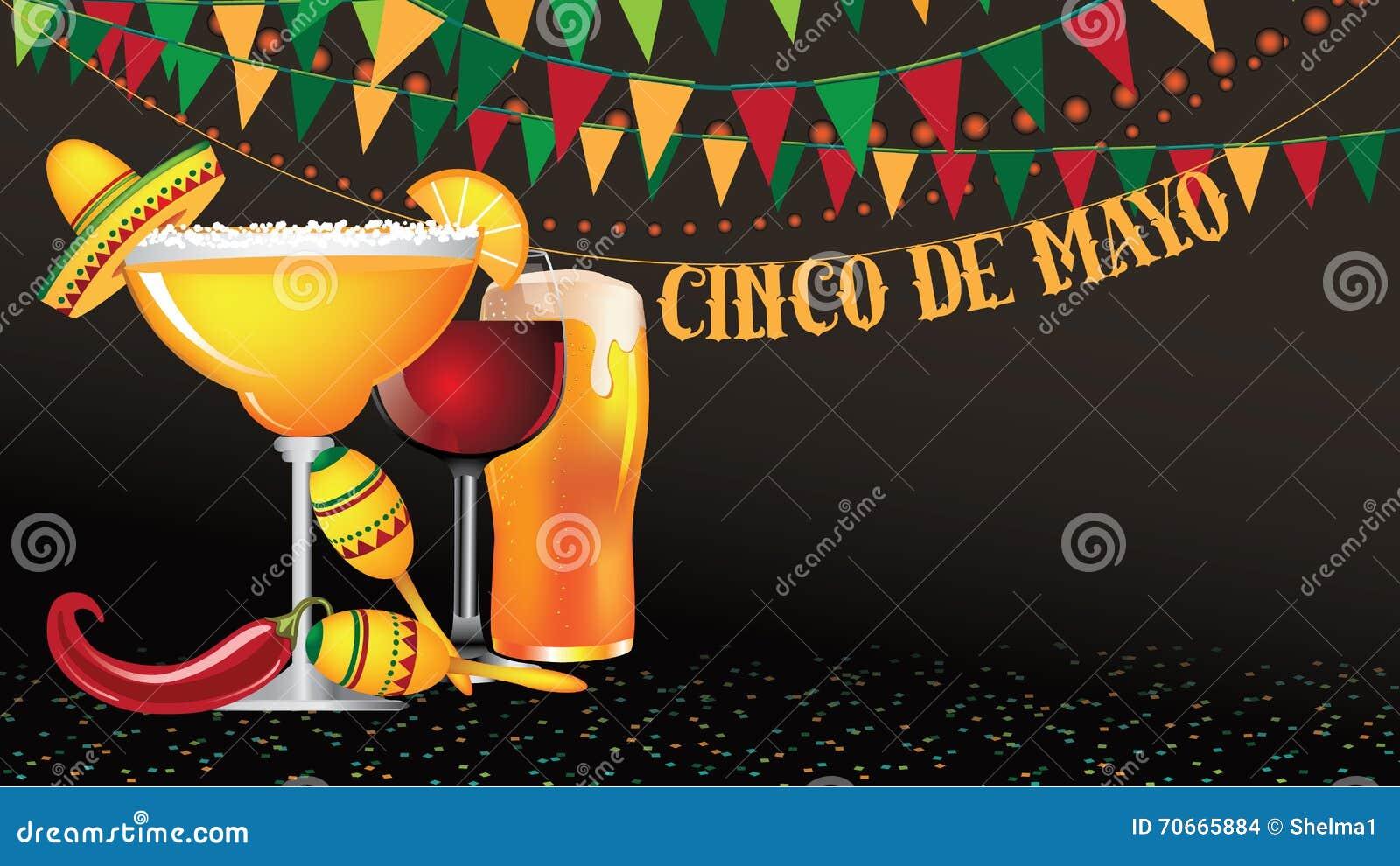 Bunting van Cinco De Mayo achtergrond met groot scherm