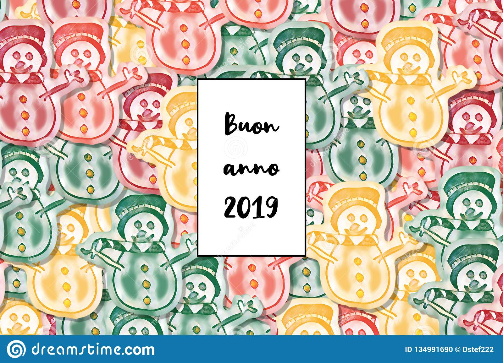 Buon anno 2019 card Happy New Year in italian with colored snowman as a background