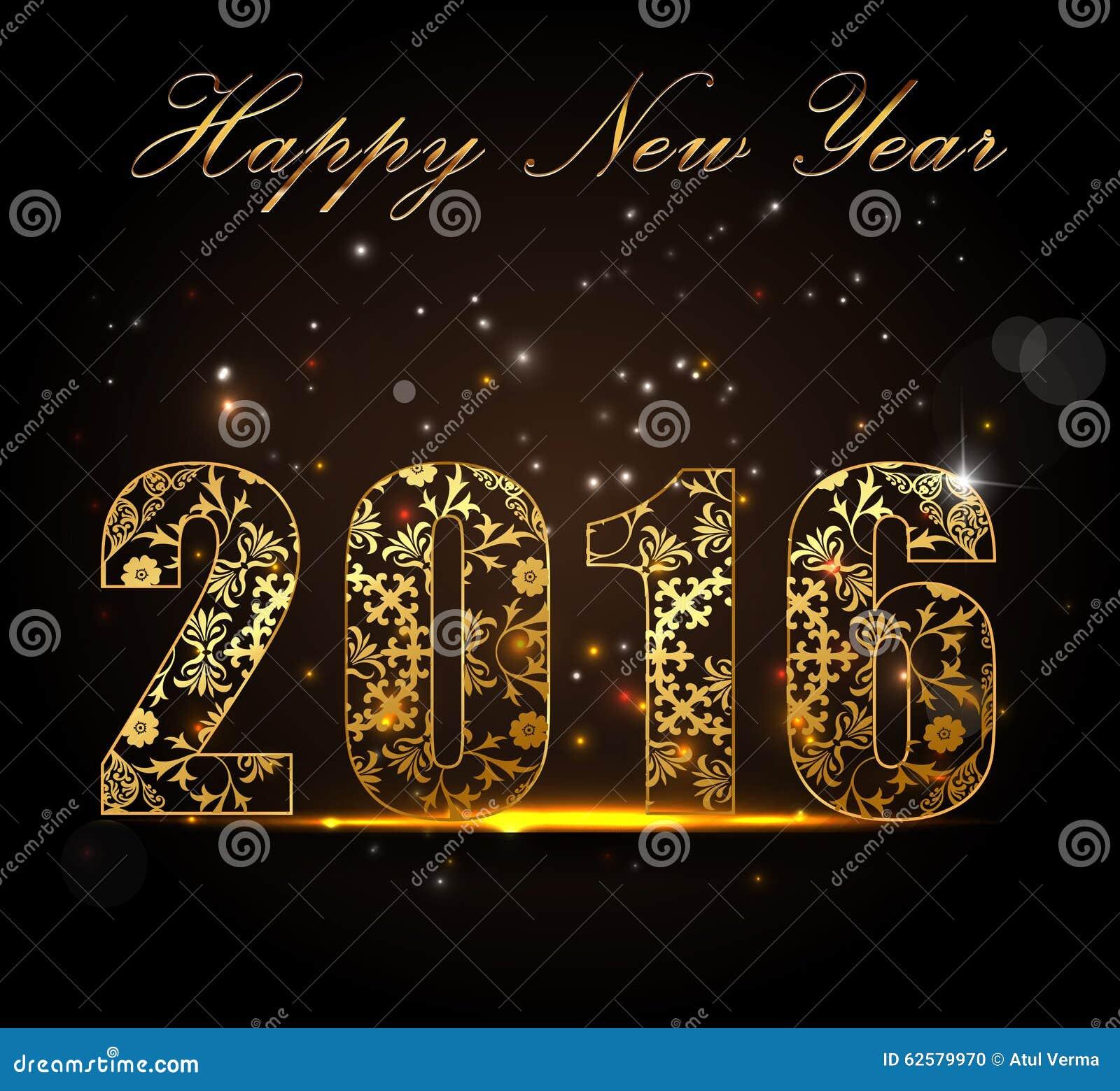 Buon anno 2016, concetto di celebrazione con testo dorato su bella incandescenza nella notte