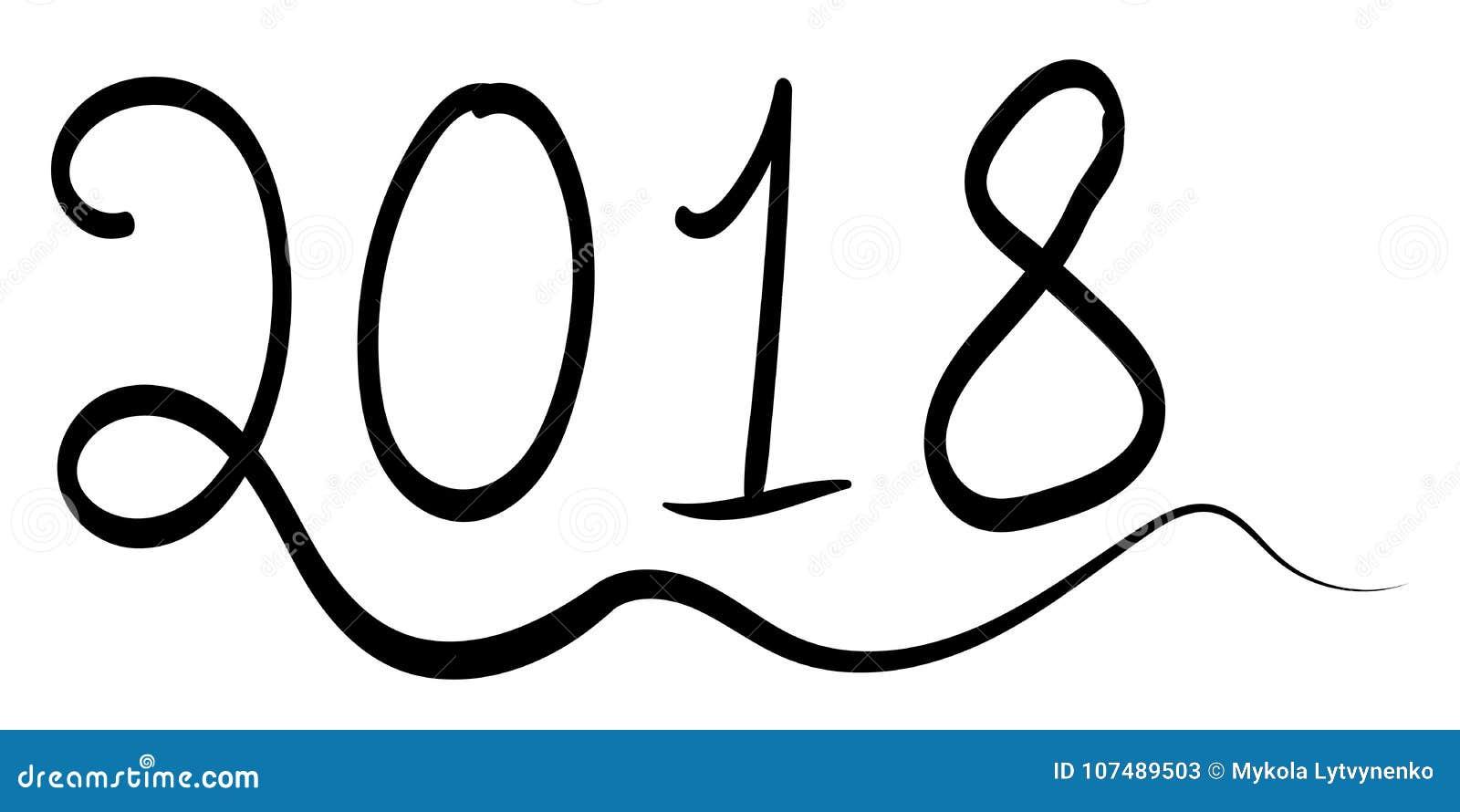 Buon Anno 2018 Illustrazione Semplice Dell Inchiostro Degli Elementi