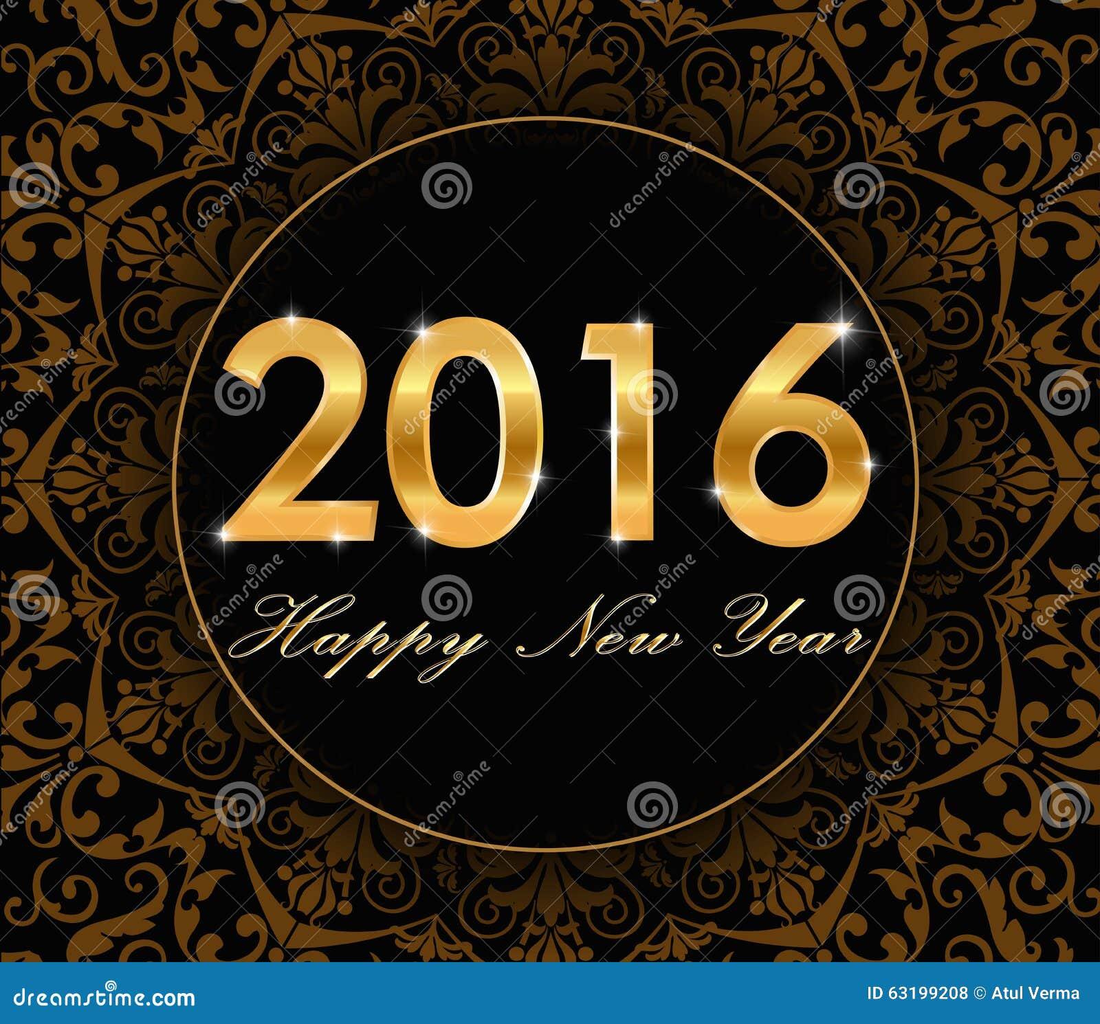 Buon anno 2016 - modello floreale dell oro con la carta 2016 di tipografia