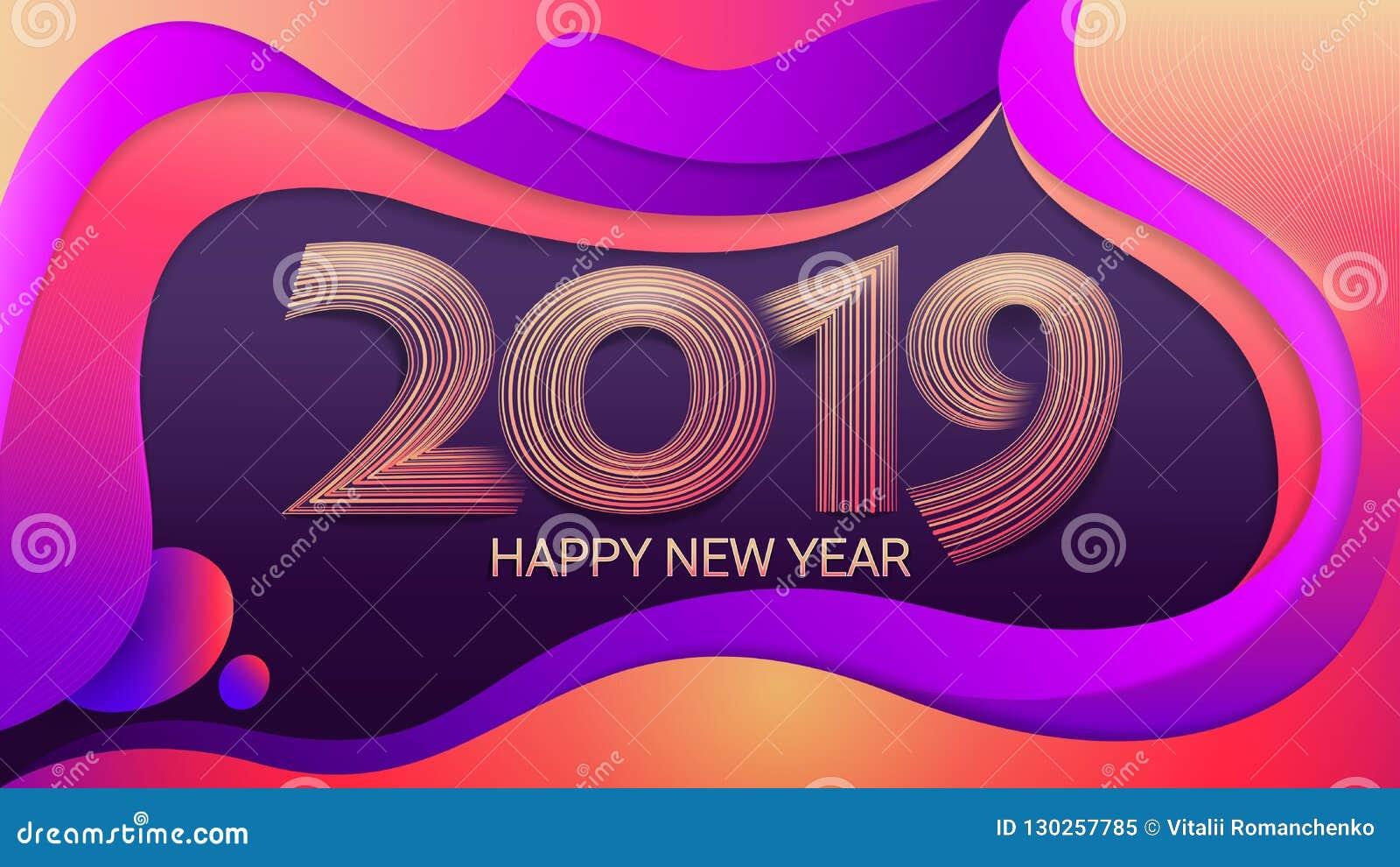 Buon anno 2019 Natale Fondo olorful del ¡ di Ð illustrazione astratta di vettore celebrazione