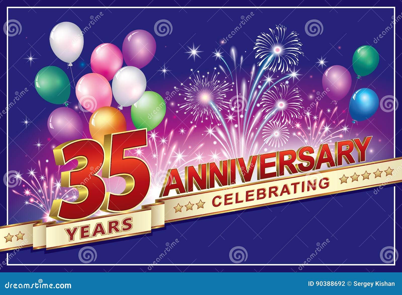 Auguri Di Buon Compleanno 35 Anni.Buon Compleanno 35 Anni Illustrazione Vettoriale