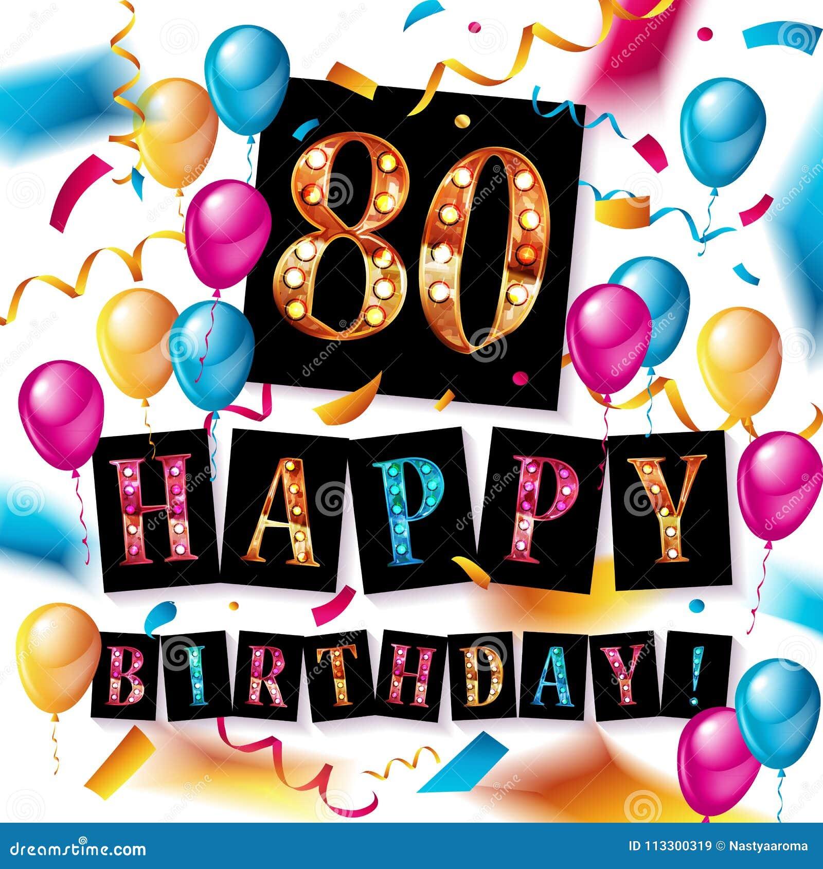 Auguri Buon Compleanno 80.Buon Compleanno 80 Anni Di Anniversario Illustrazione Di