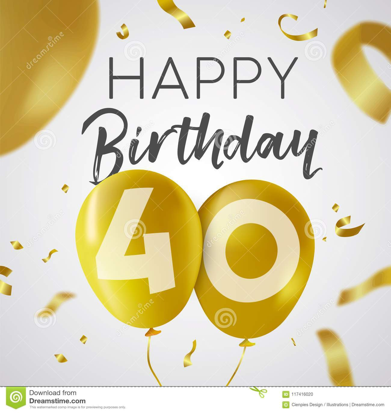 Auguri Di Buon Compleanno 40 Anni.Buon Compleanno 40 Carta Del Pallone Dell Oro Da Quaranta