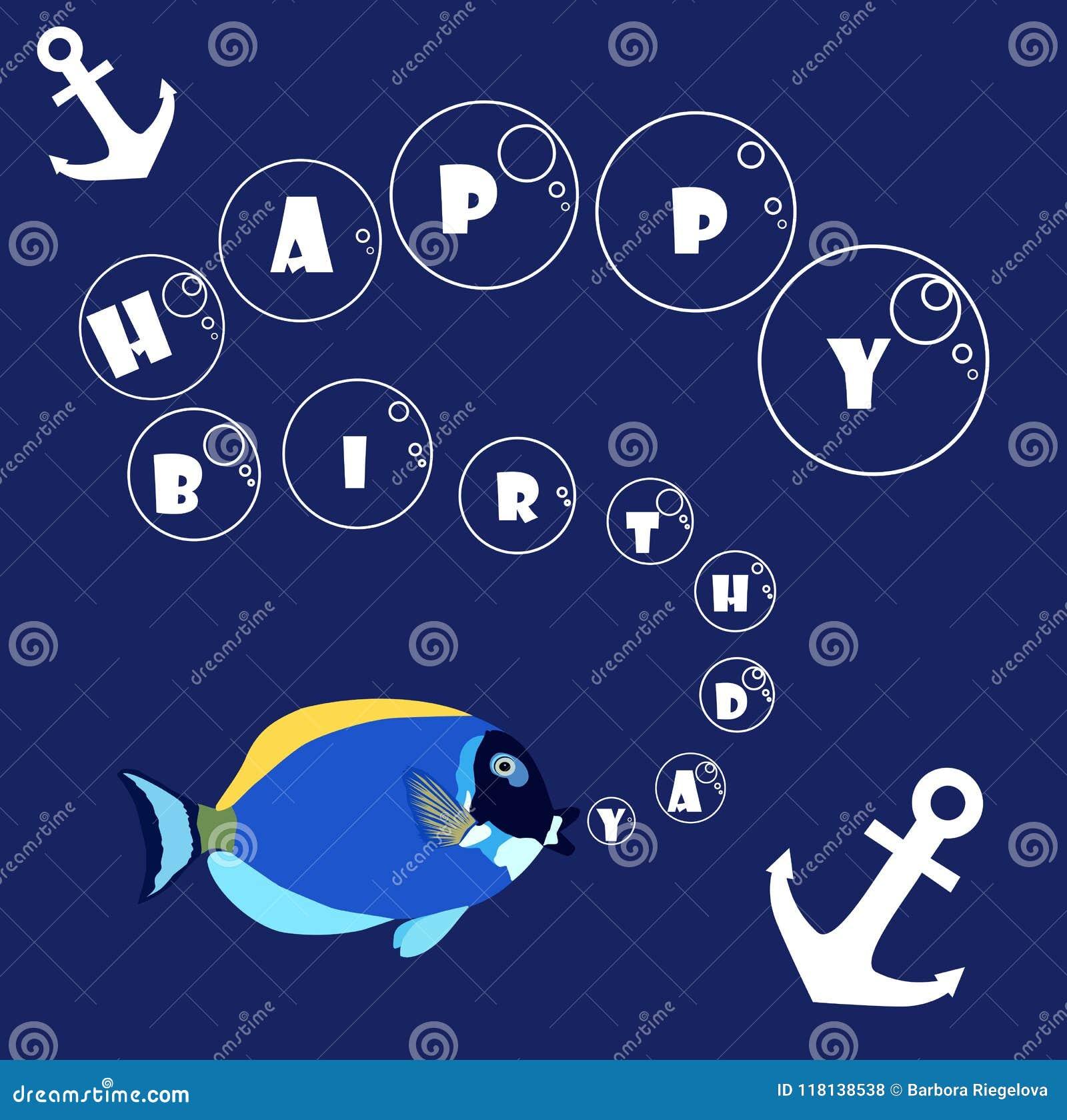 Buon compleanno con il pesce e l ancora