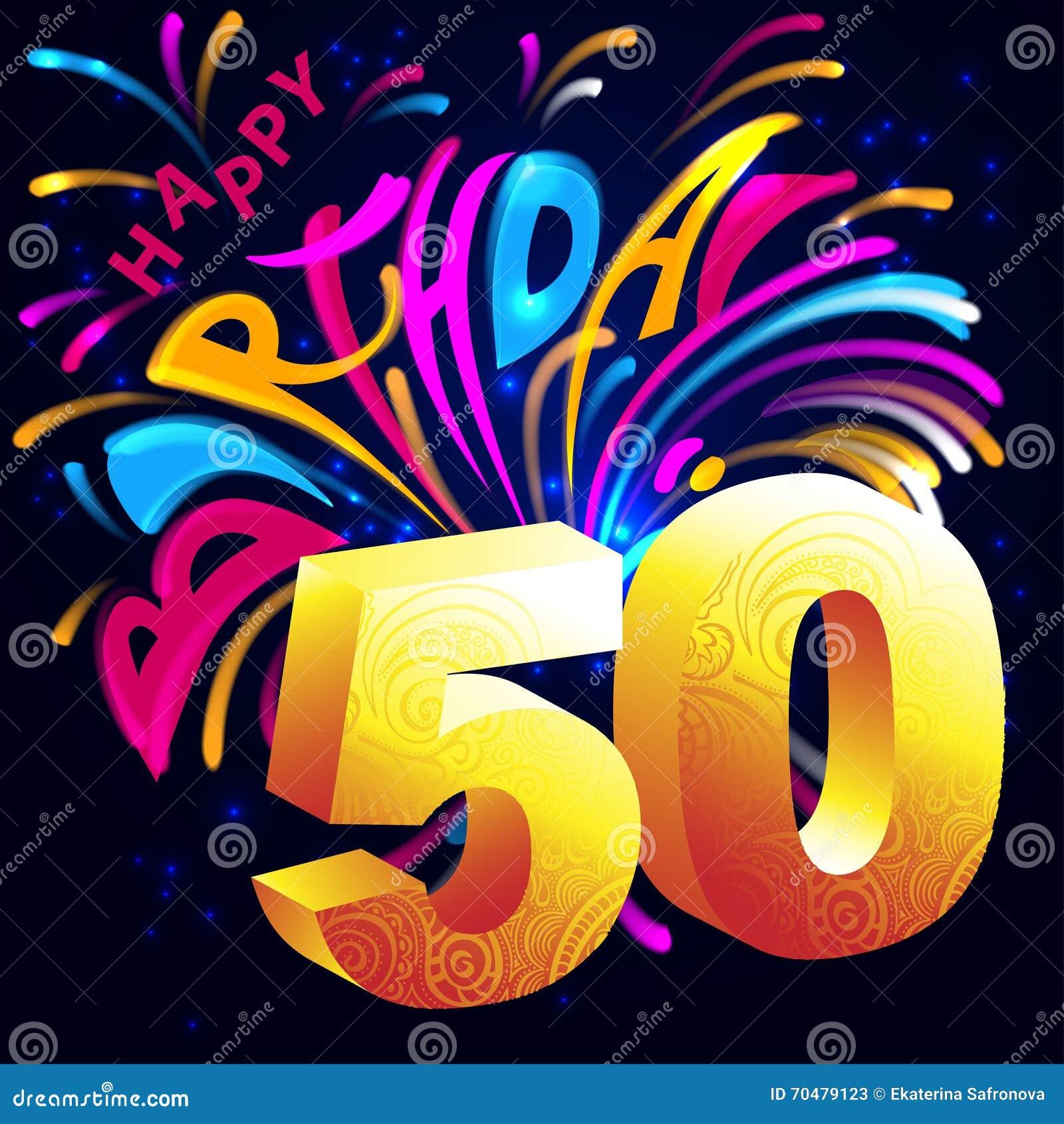 Buon Compleanno Dei Fuochi Dartificio Con Un Oro Numero 50