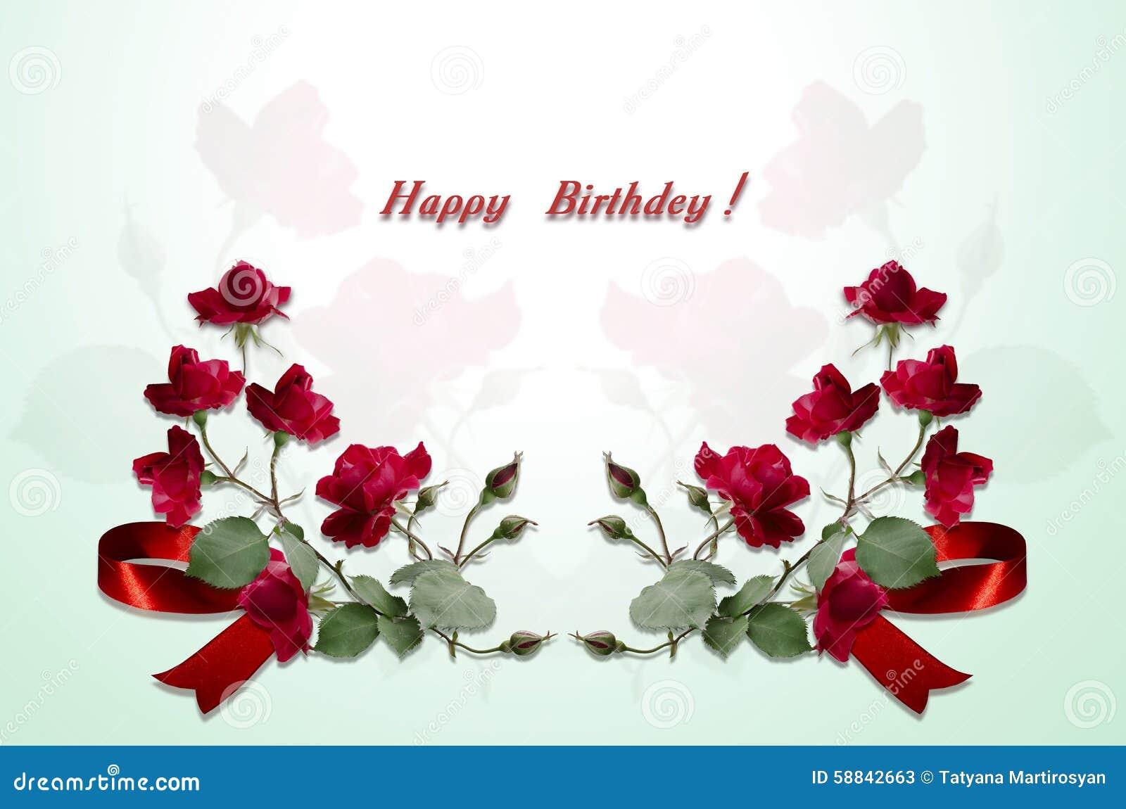 Buon Compleanno Delle Cartoline Delle Rose Rosse Dei Mazzi E Dell