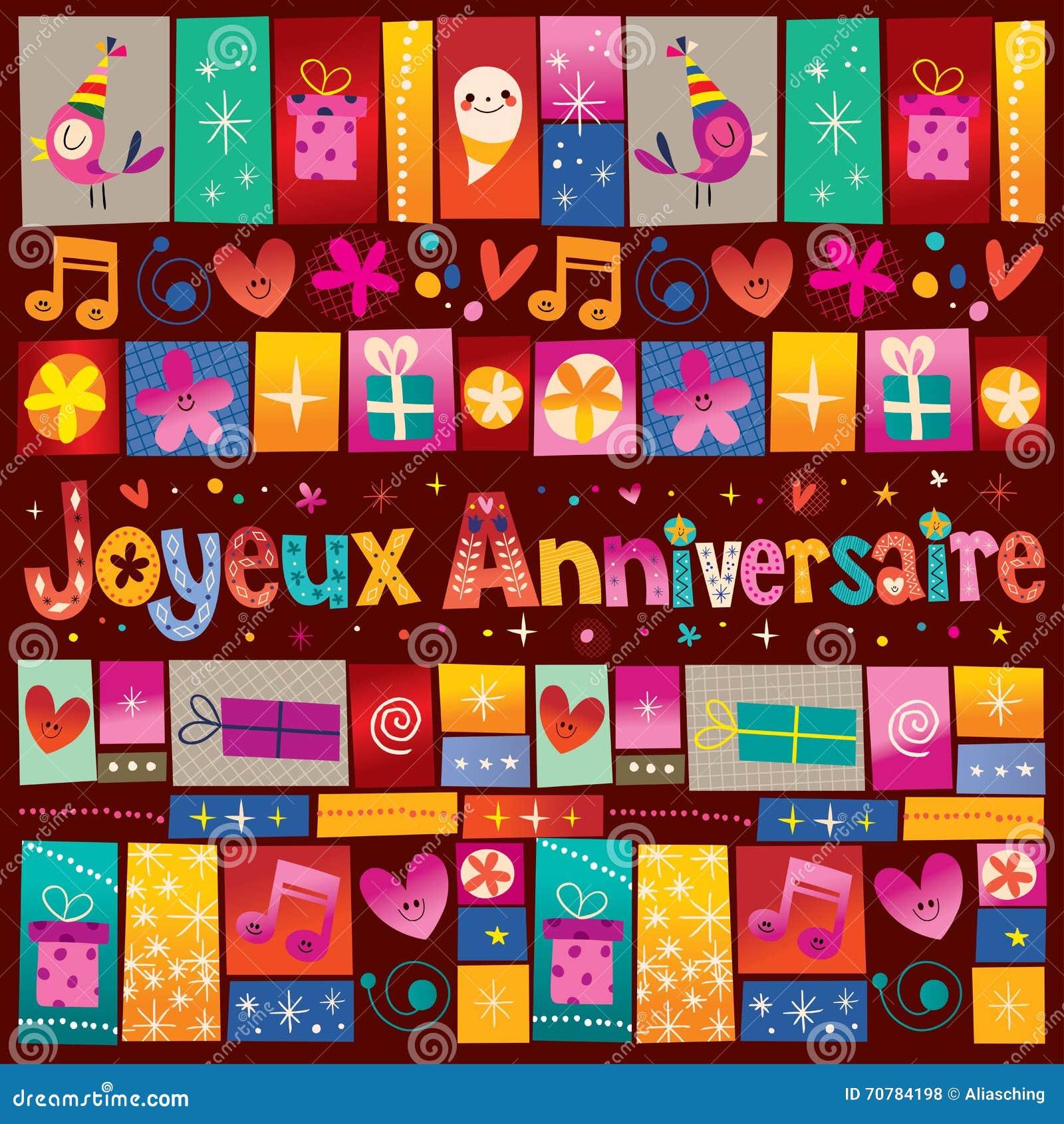 Buon Compleanno Di Joyeux Anniversaire Nell'iscrizione Decorativa