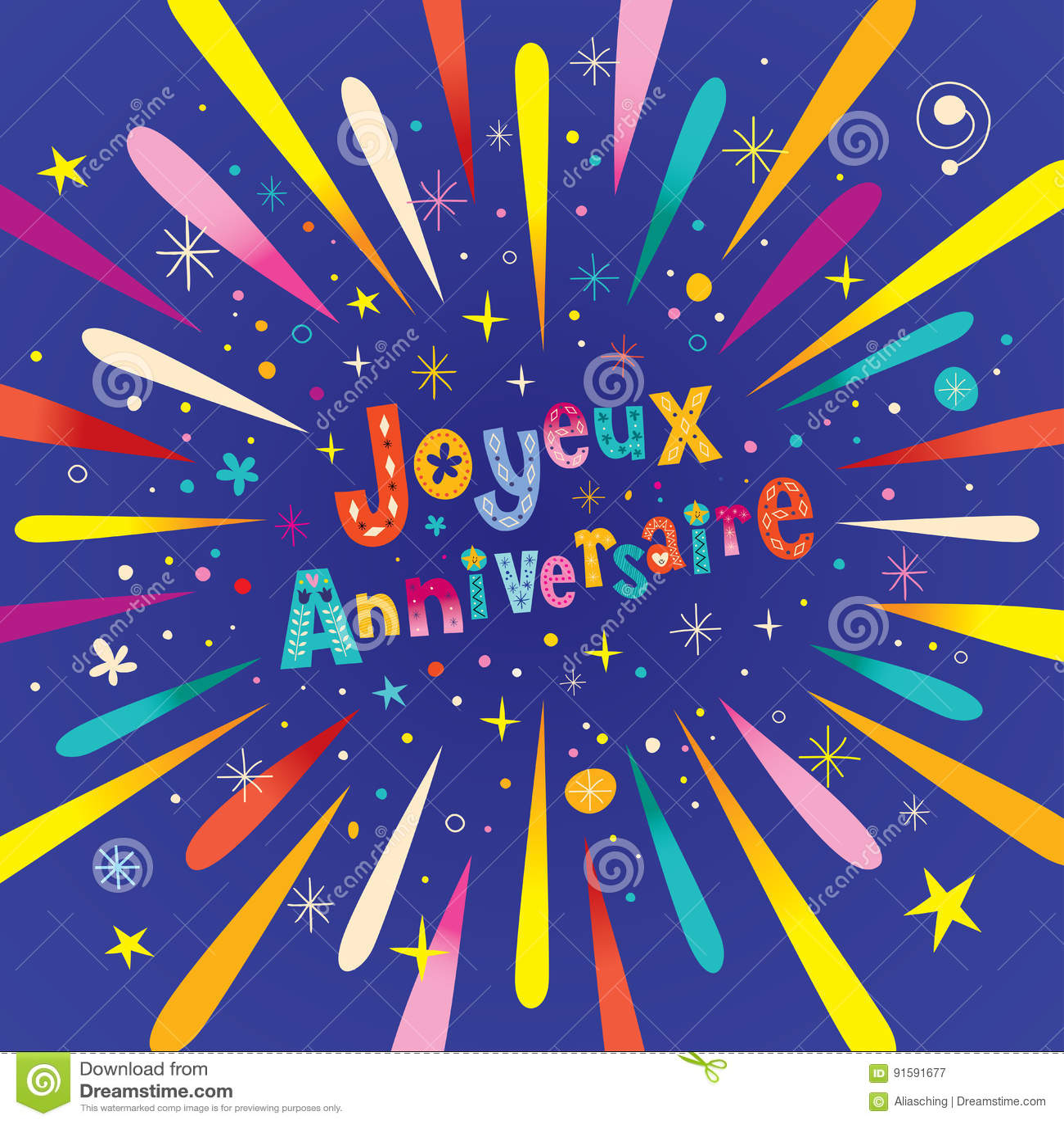 Buon Compleanno Di Joyeux Anniversaire Nella Cartolina D'auguri