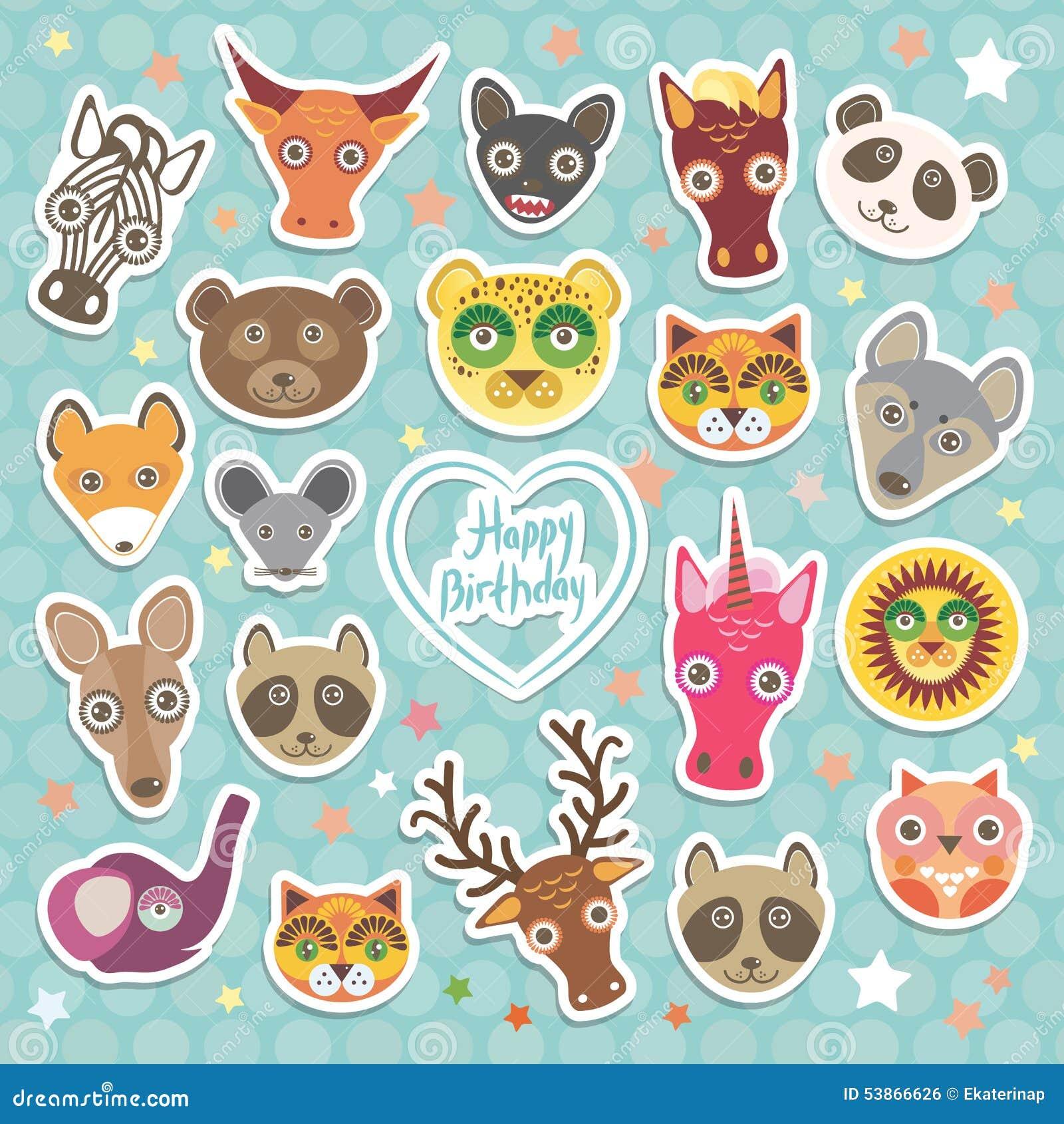 Buon Compleanno Gli Animali Divertenti Cardano Il Modello Sul Fondo