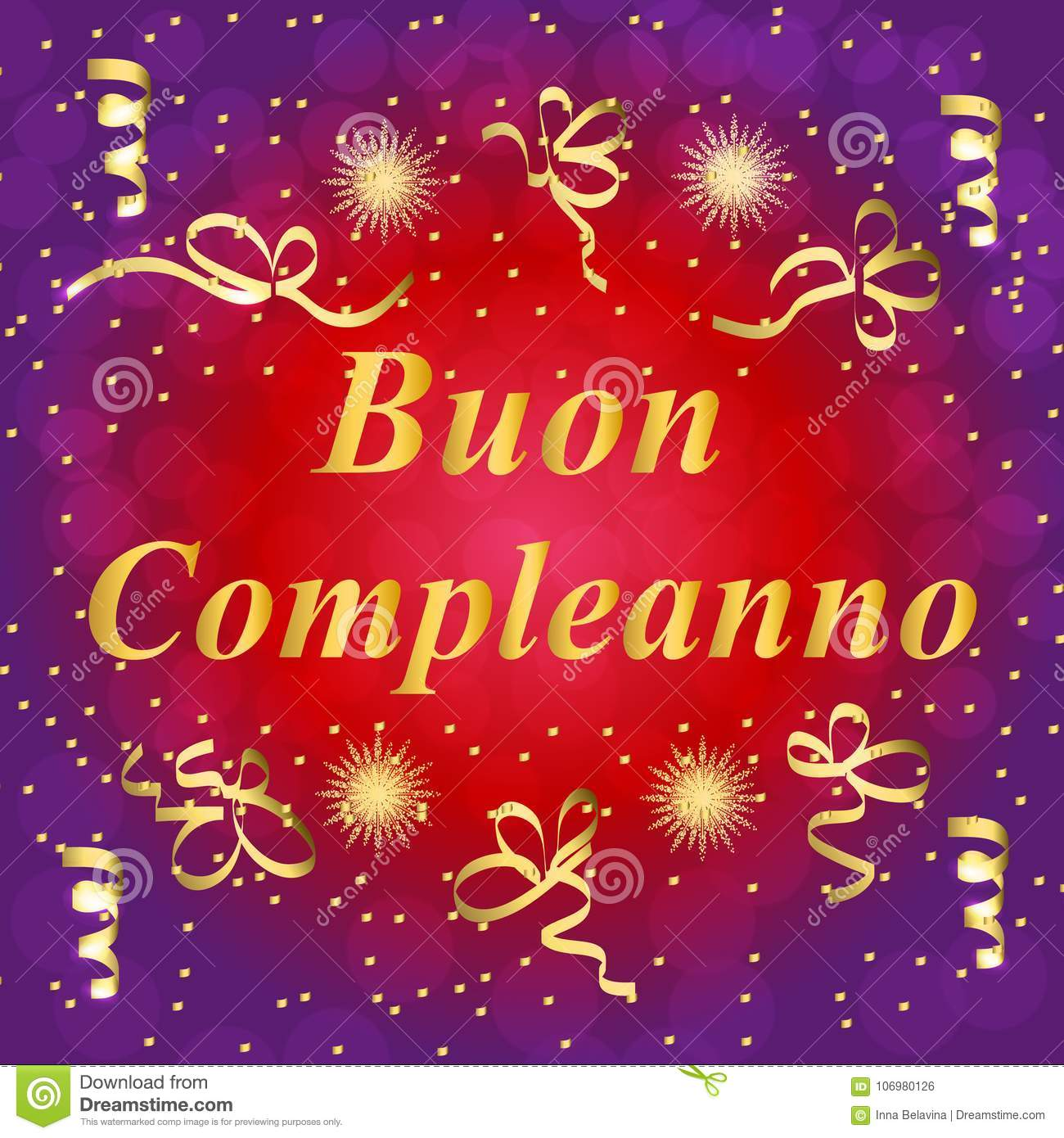 Buon Compleanno Greeting Card Brightly Colorful Illustration Happy