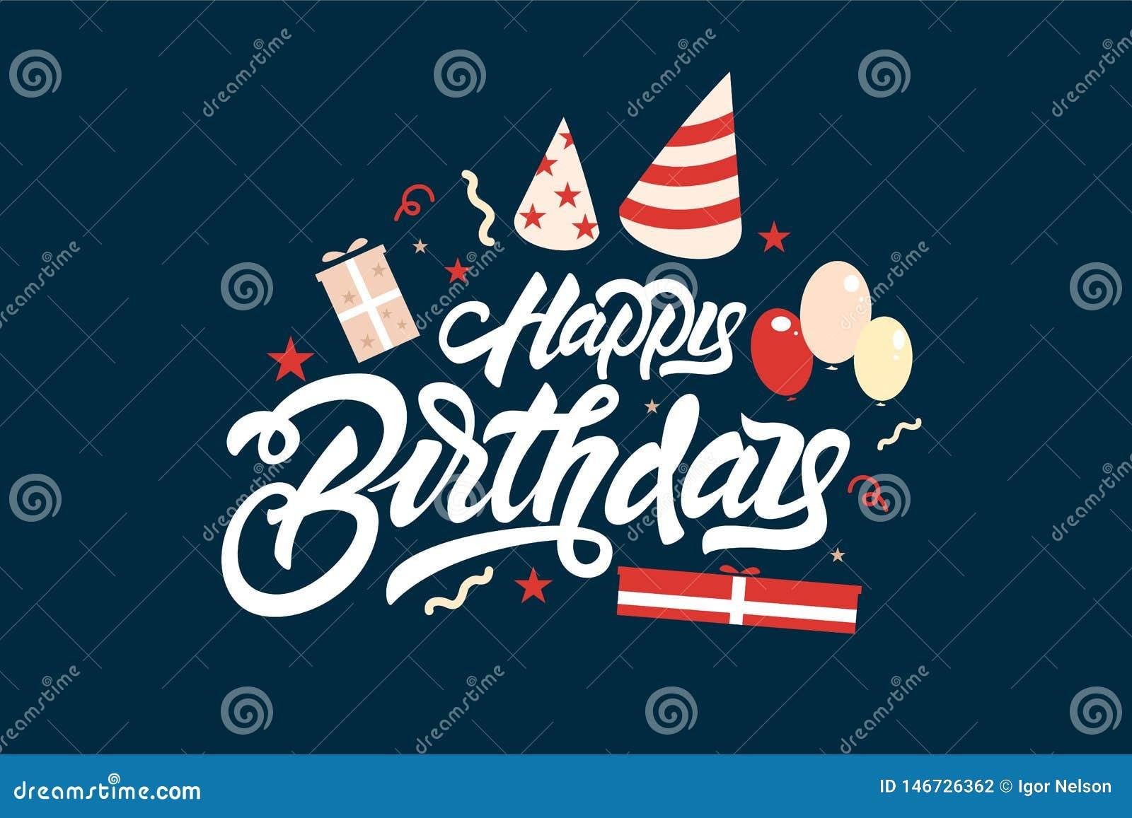Buon compleanno Iscrizione dell illustrazione con lettere con i palloni ed i regali Progettazione disegnata a mano della stampa d