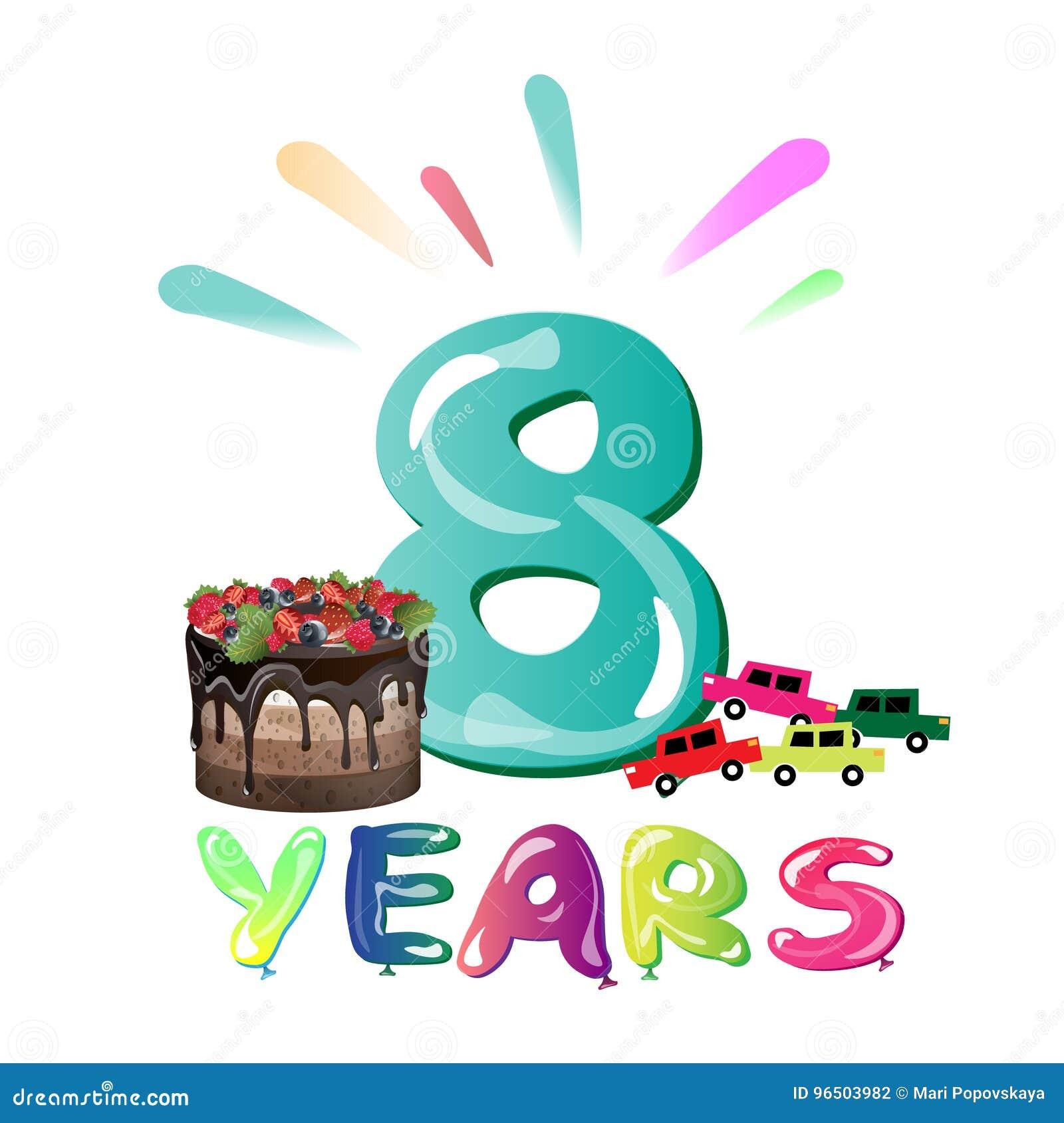 Buon Compleanno Otto 8 Anni Progettazione Di Divertimento Con Il