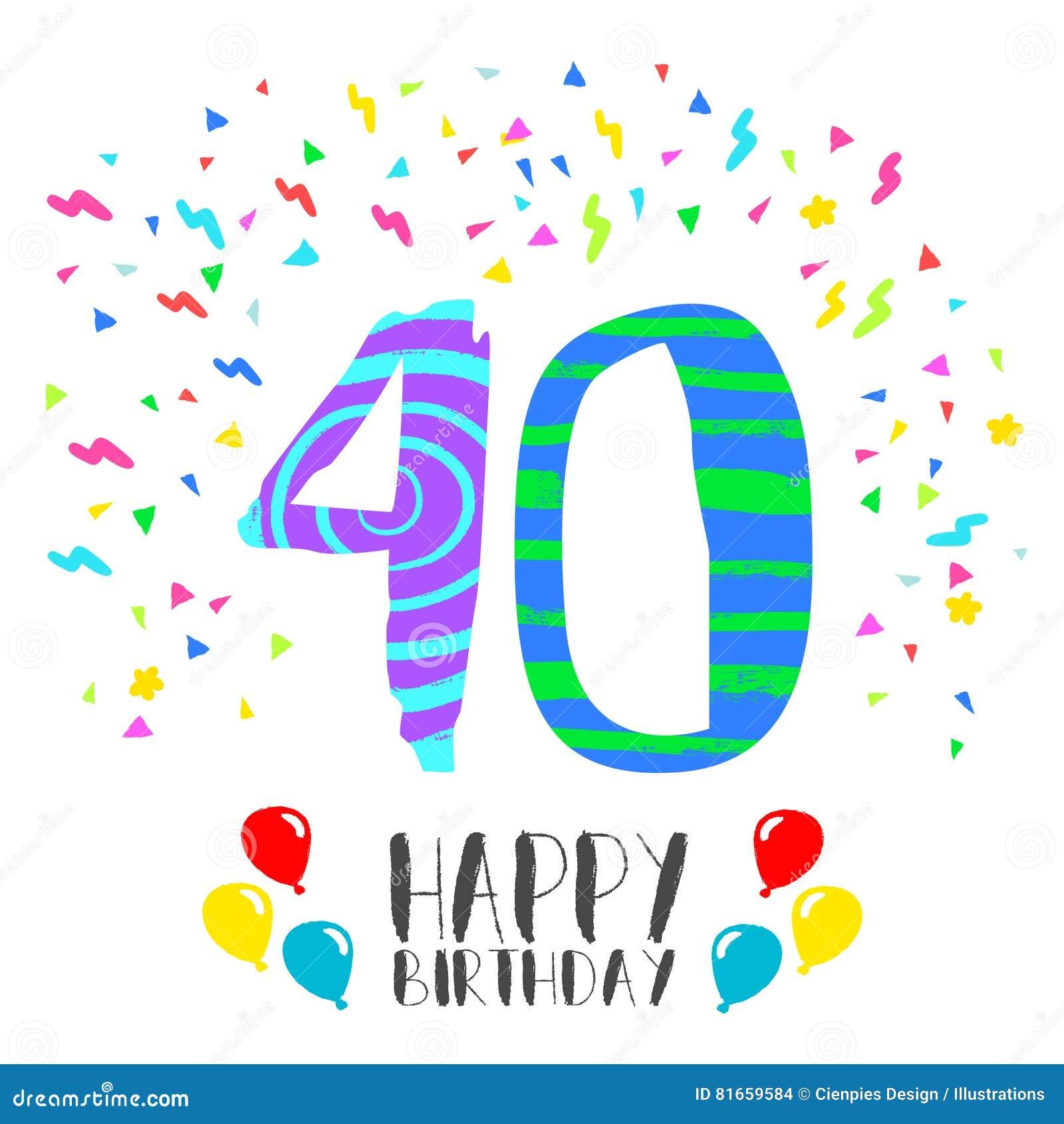 Top Buon Compleanno Per La Carta Dell'invito Del Partito Da 40 Anni  IH38
