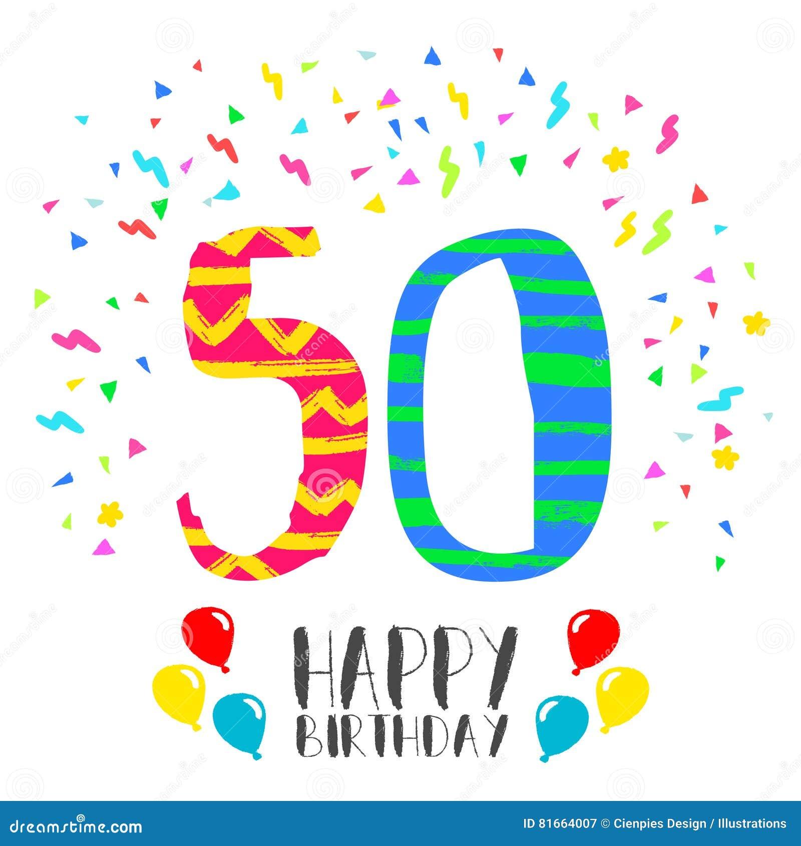 Buon Compleanno Per La Carta Dell Invito Del Partito Da 50 Anni