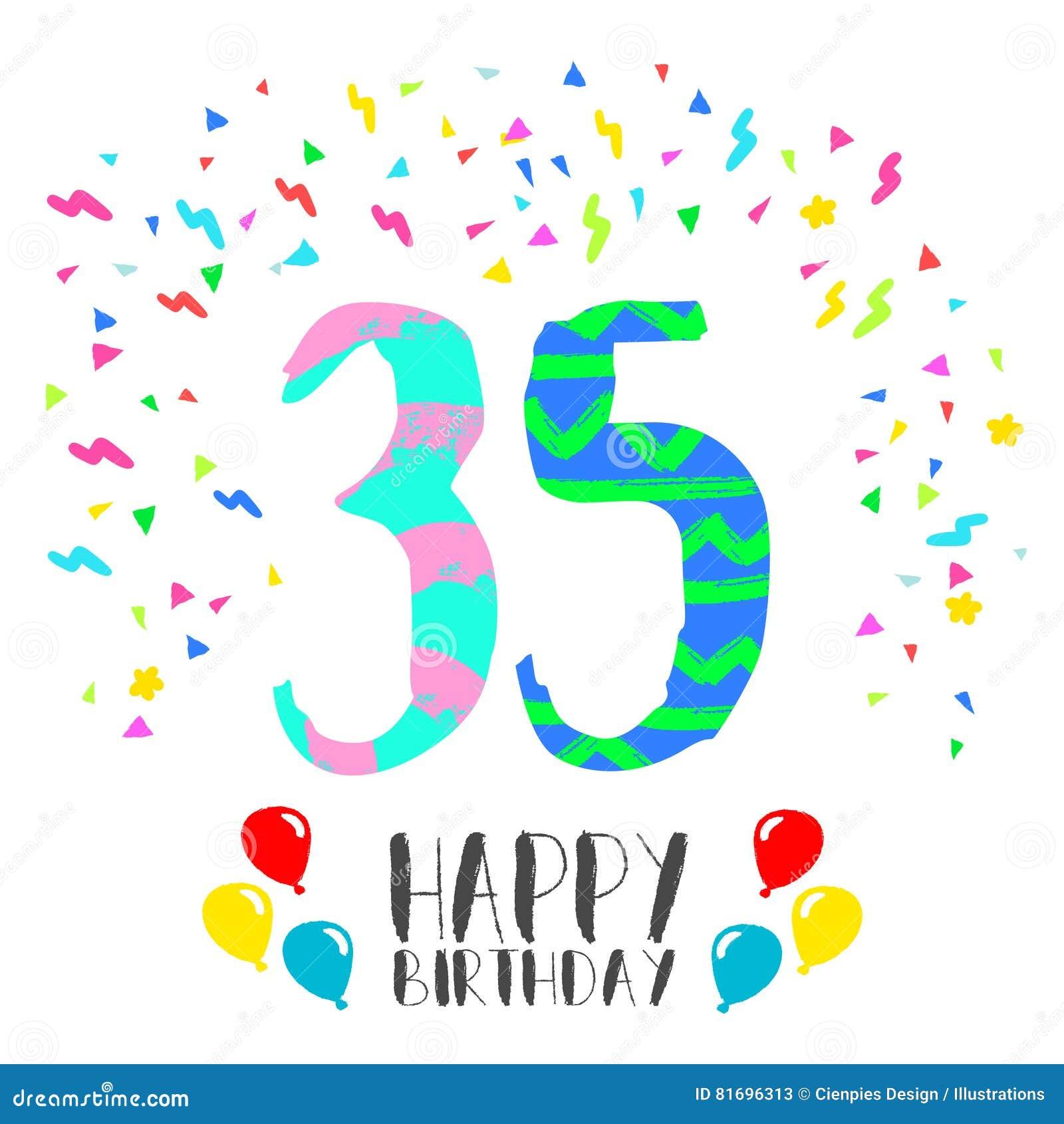 Auguri Di Buon Compleanno 35 Anni.Buon Compleanno Per La Carta Dell Invito Del Partito Da 35
