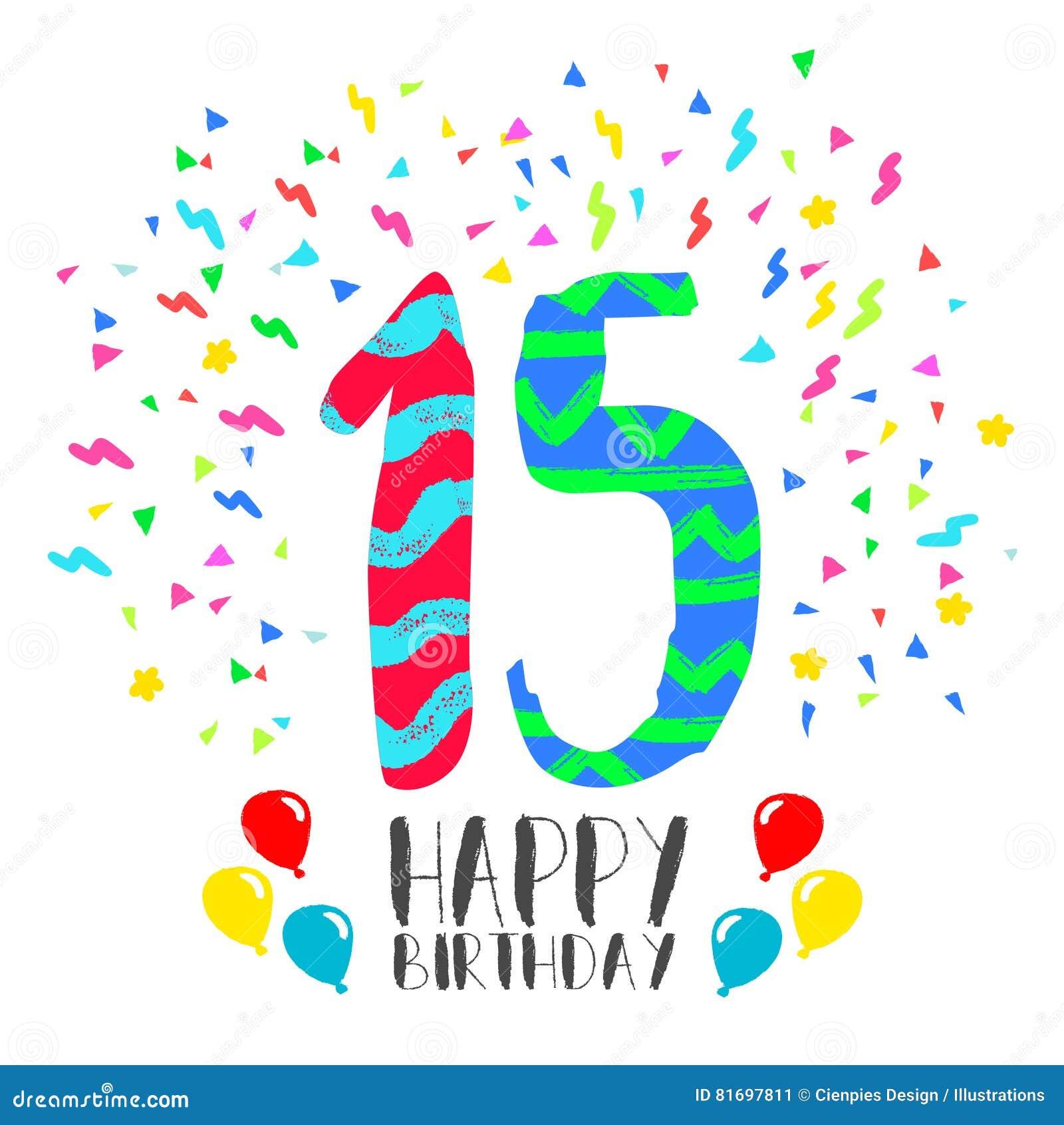 Buon Compleanno Per La Carta Dell Invito Del Partito Da 15 Anni