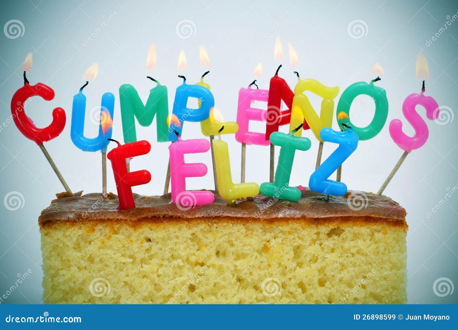Buon Compleanno Scritto Nello Spagnolo Immagine Stock   Immagine