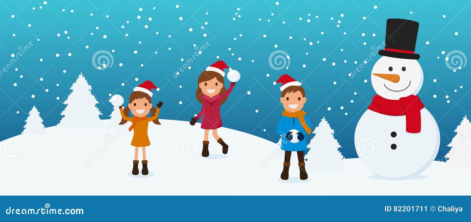 Buon Natale Per Bambini.Buon Natale Bambini Svegli E Pupazzo Di Neve Che Giocano Palla Di
