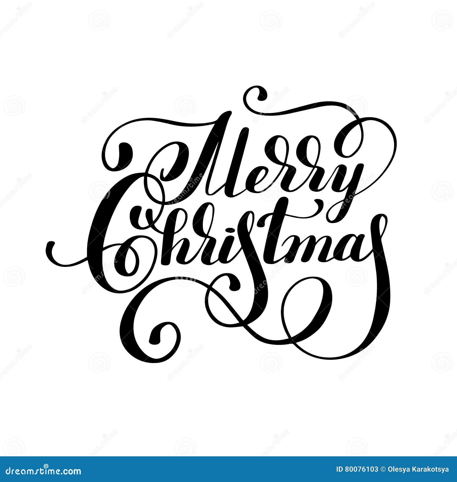 Immagini Natale In Bianco E Nero.Buon Natale In Bianco E Nero Dell Iscrizione Dell Iscrizione Della Mano Illustrazione Vettoriale Illustrazione Di Etichetta Grafico 80076103