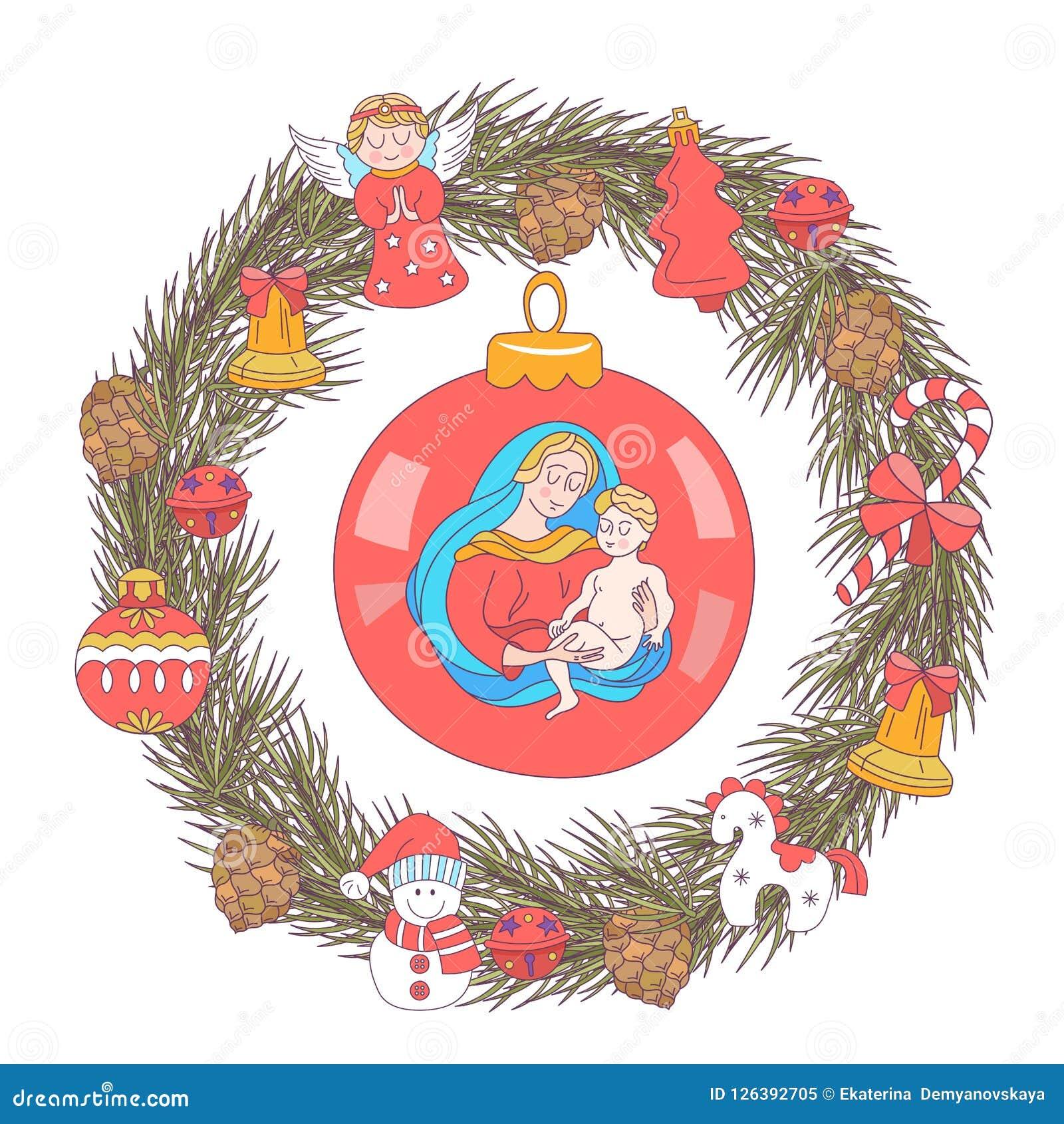 Auguri Di Natale Per La Famiglia.Buon Natale Cartolina D Auguri Di Vettore Corona Degli Alberi Di