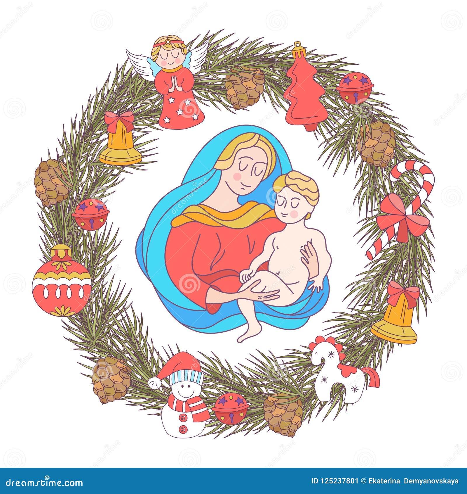Buon Santo Natale.Buon Natale Cartolina D Auguri Di Vettore Vergine Maria E La