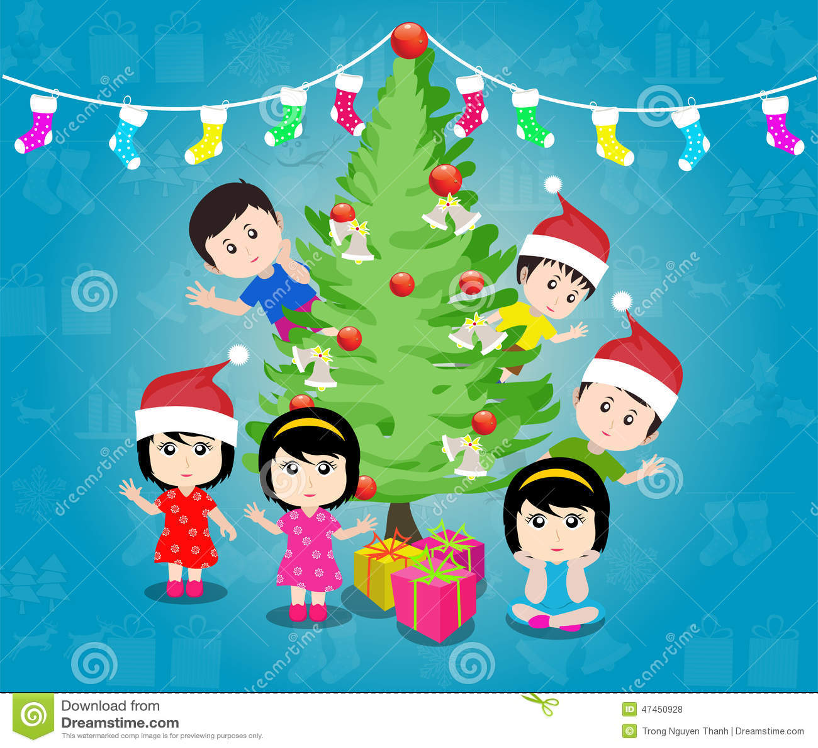 Buon Natale Per Bambini.Buon Natale Con Il Vettore Felice Dei Bambini Illustrazione