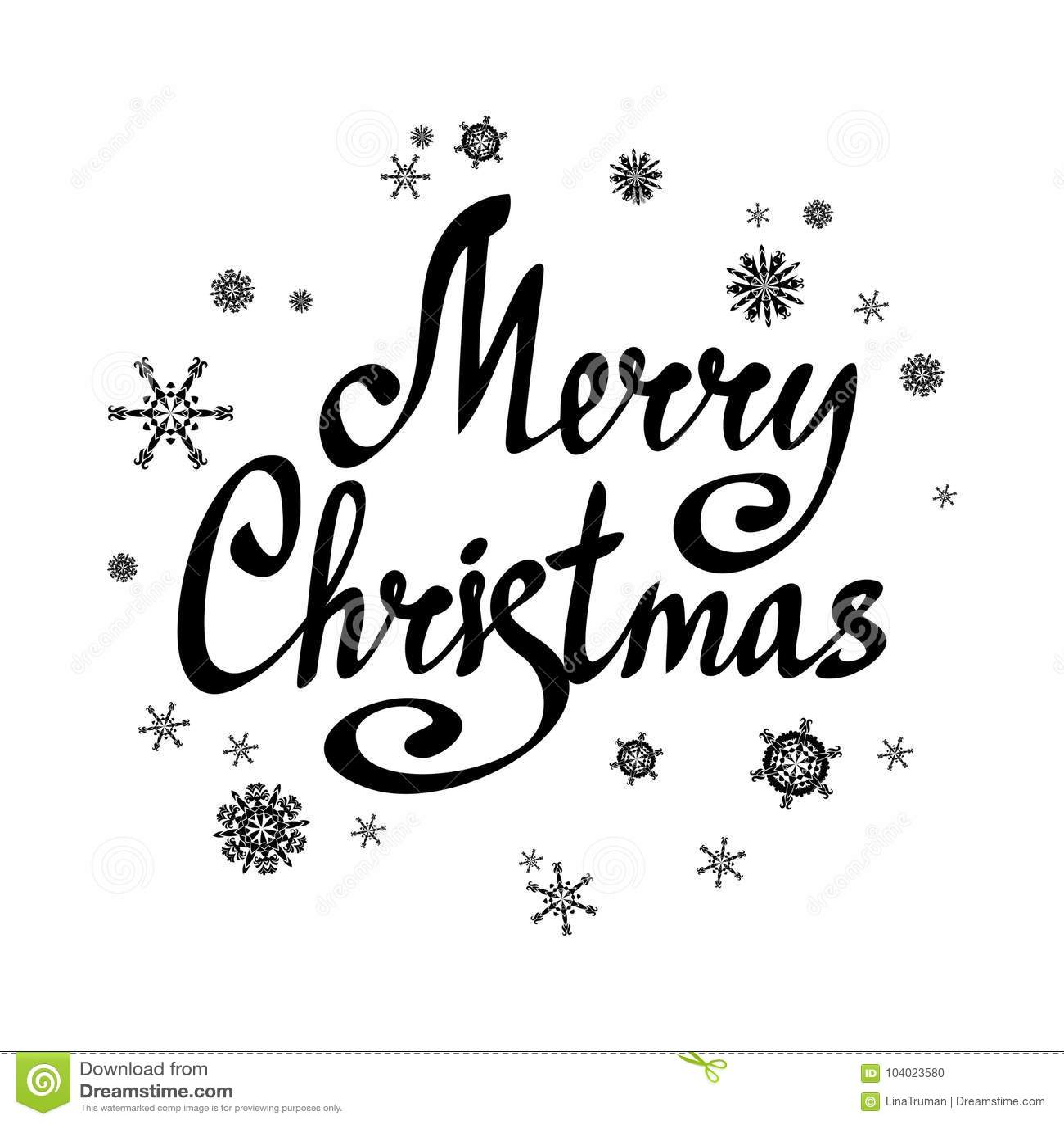Buon Natale di frase Iscrizione con i fiocchi di neve calligraphic