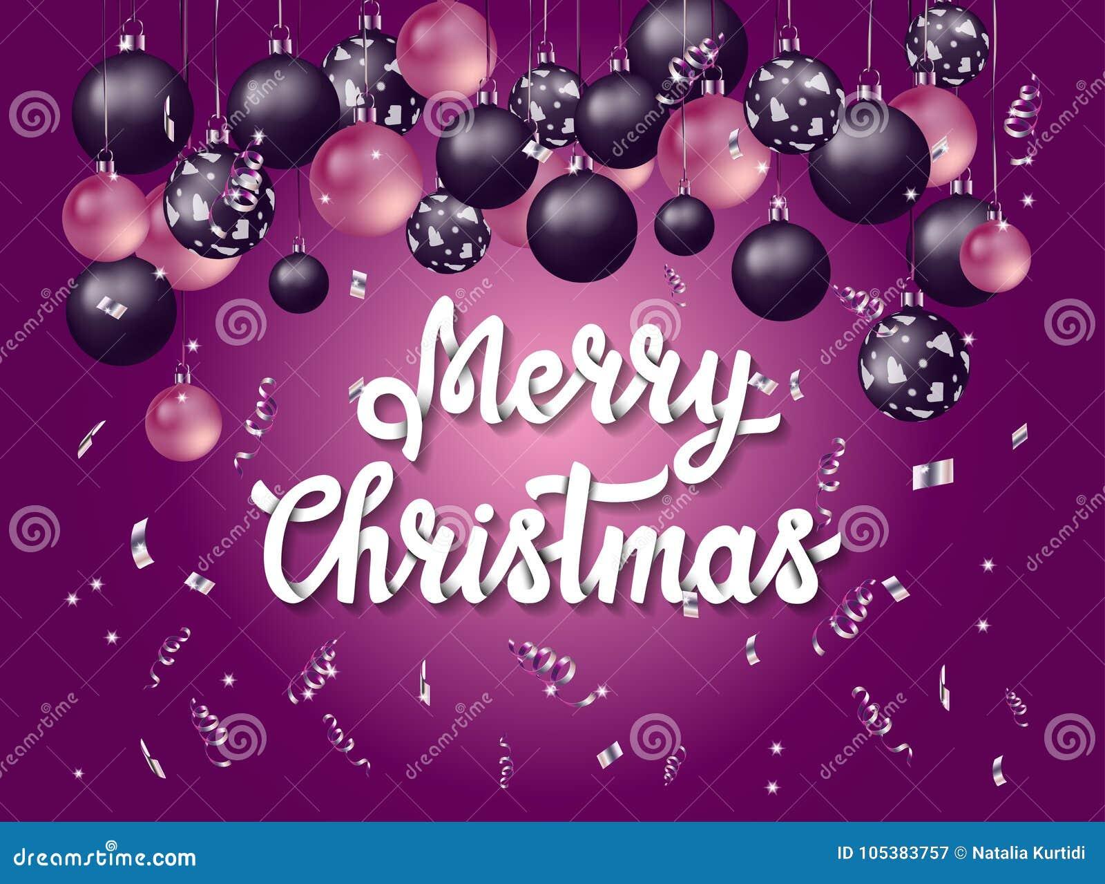 Buon Natale di Handlettering con fondo porpora