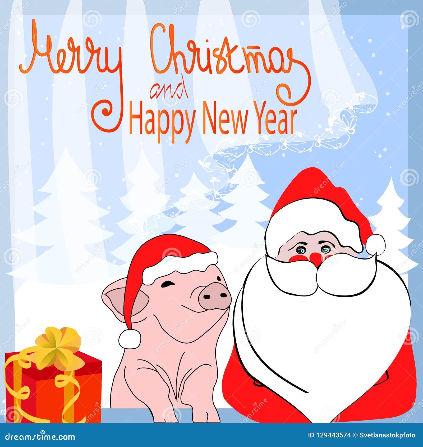 Immagini Divertenti Natale 2019.Buon Natale E Buon Anno Caratteri Divertenti Santa Claus Del
