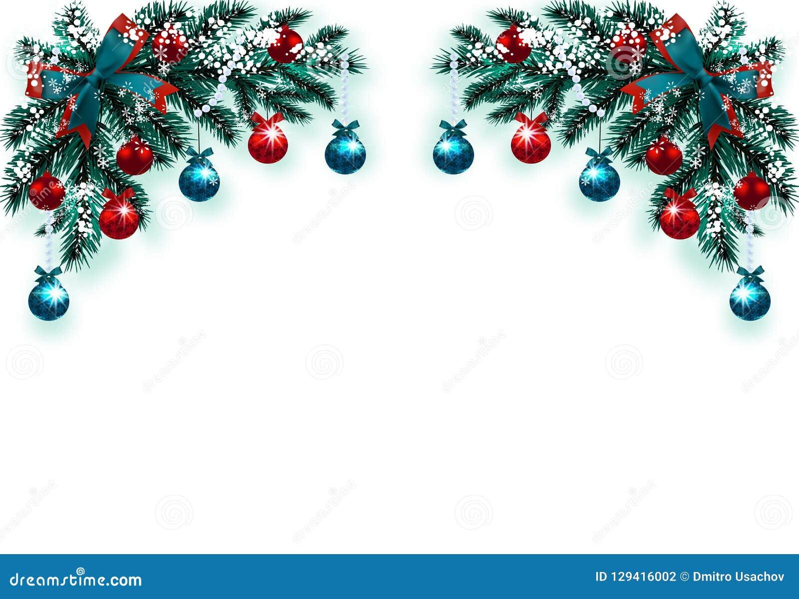 Decorazioni Albero Di Natale Blu : Buon natale e buon anno cartolina d auguri con le decorazioni su