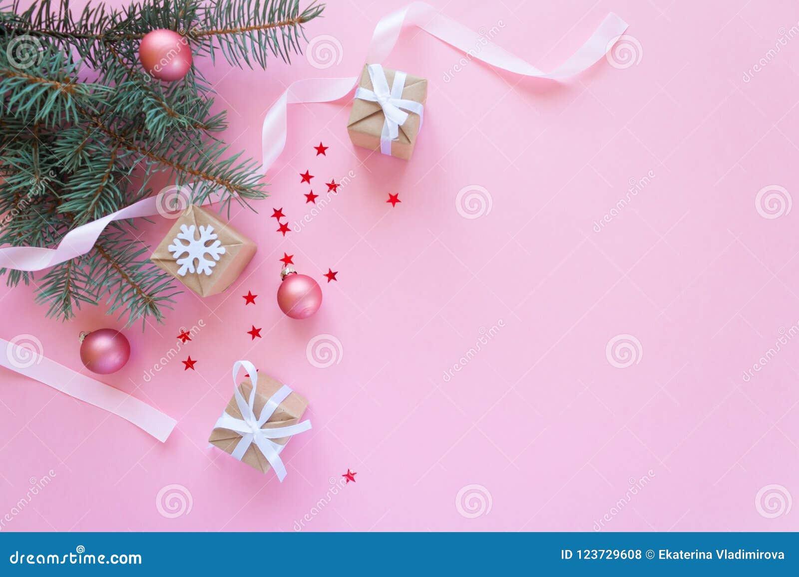 Buon Natale e buon anno Fondo rosa