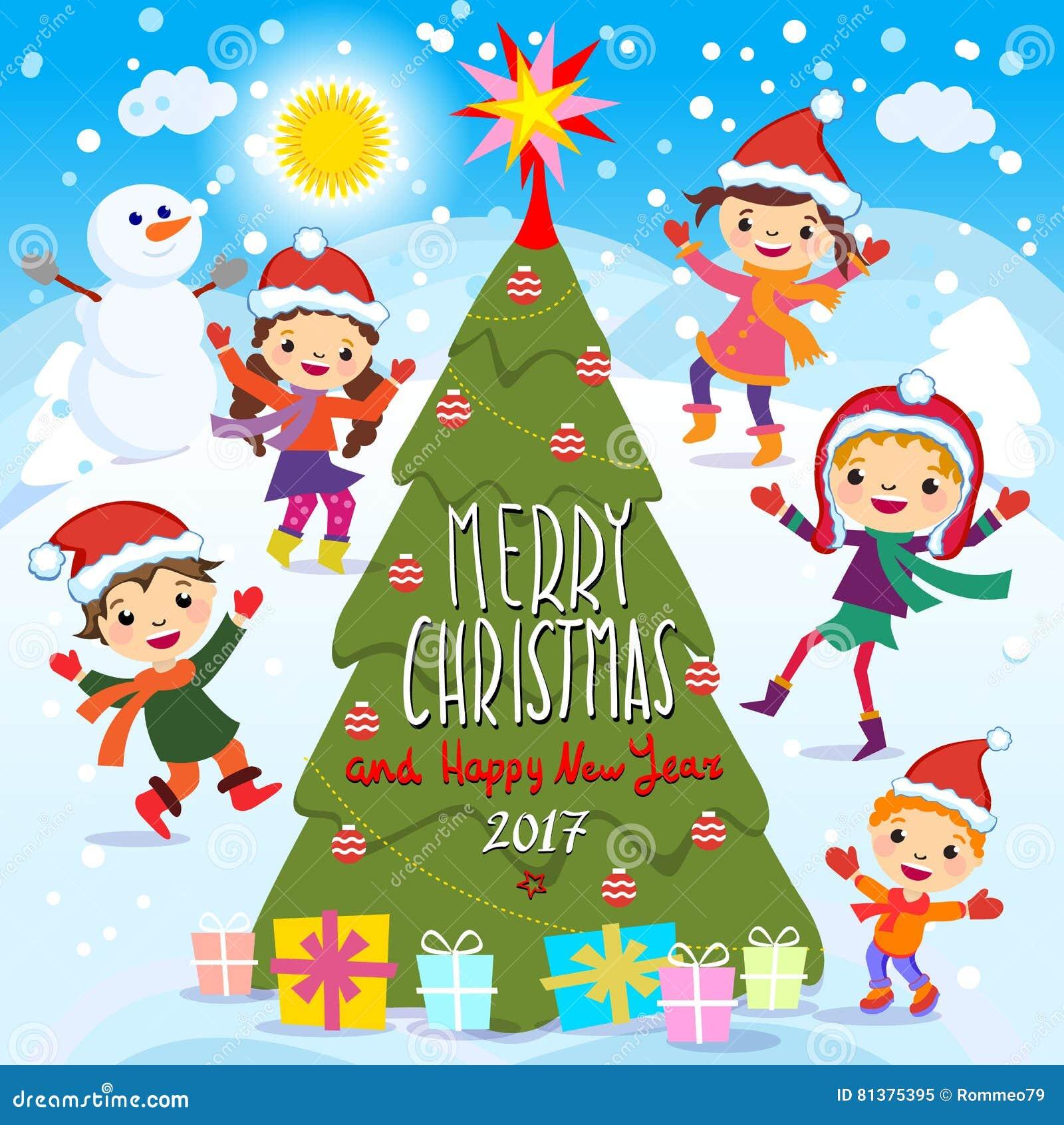 Buon Natale Per Bambini.Buon Natale E Buon Anno 2017 Divertimento Di Inverno Bambini Allegri